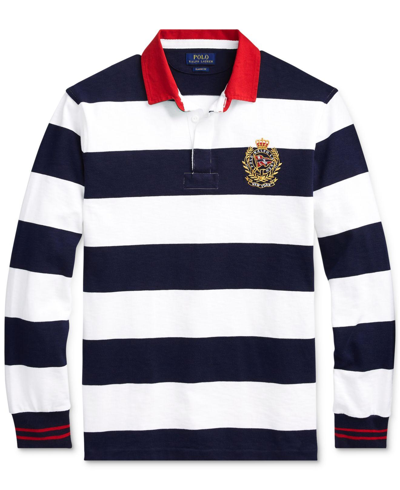 9e86cf729 Lyst - Polo Ralph Lauren Classic-fit Striped Rugby Shirt in Blue for Men