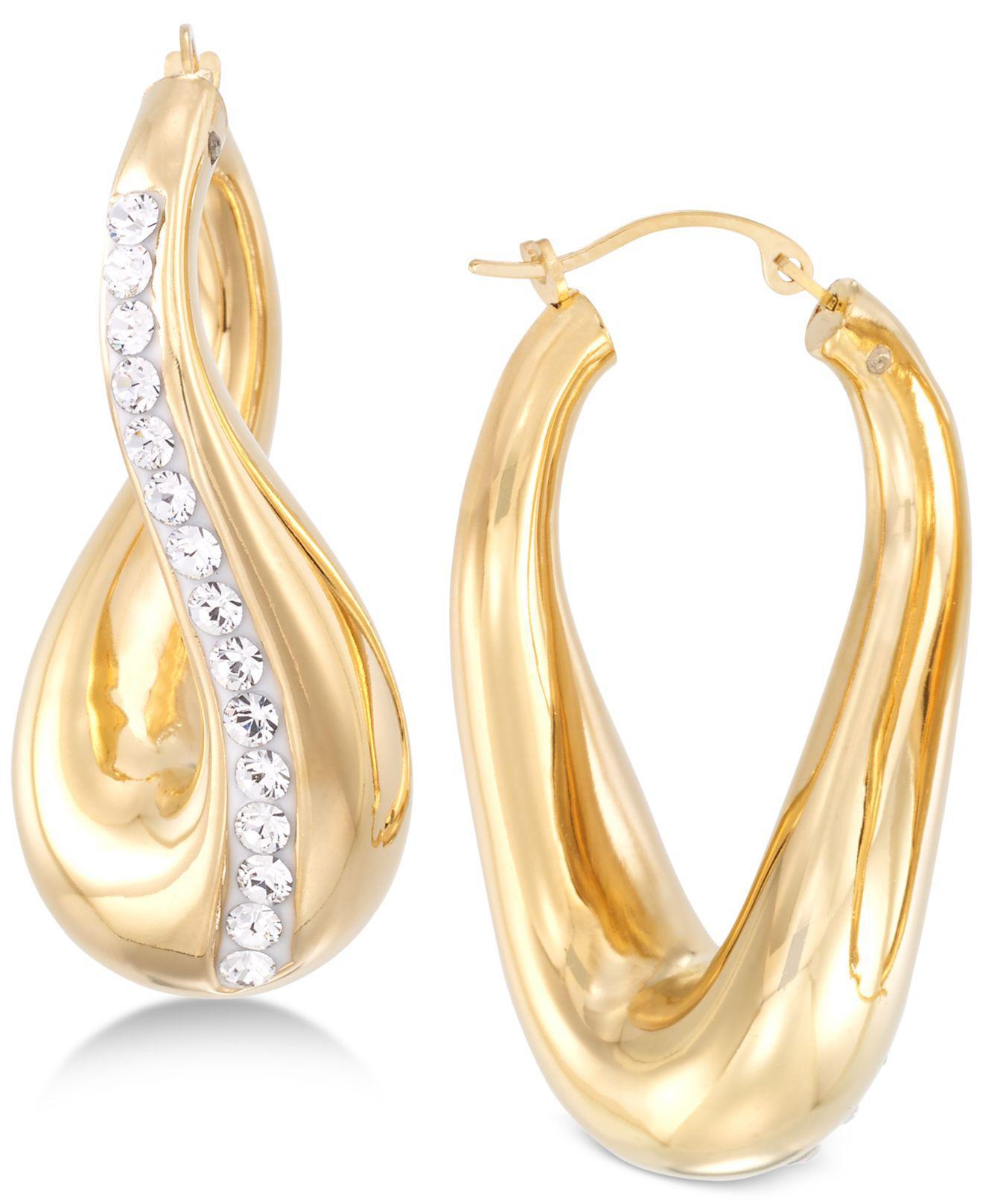 e3cce7c8bb1d5 Women's Metallic Swarovski Crystal Hoop Earrings In 14k Gold Over Resin