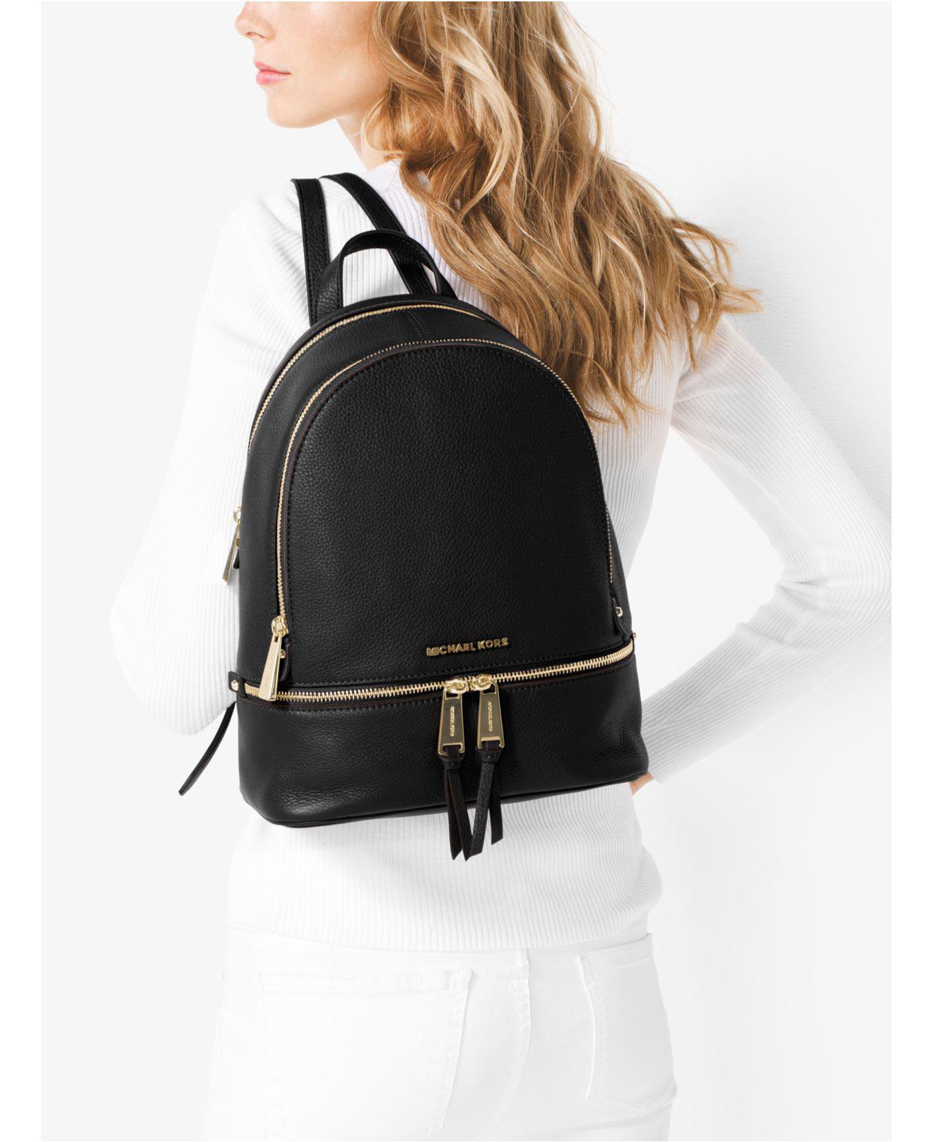 Michael Kors Michael Rhea Zip Small Pebble Leather Backpack in Black - Save  24% - Lyst 17849b3c59