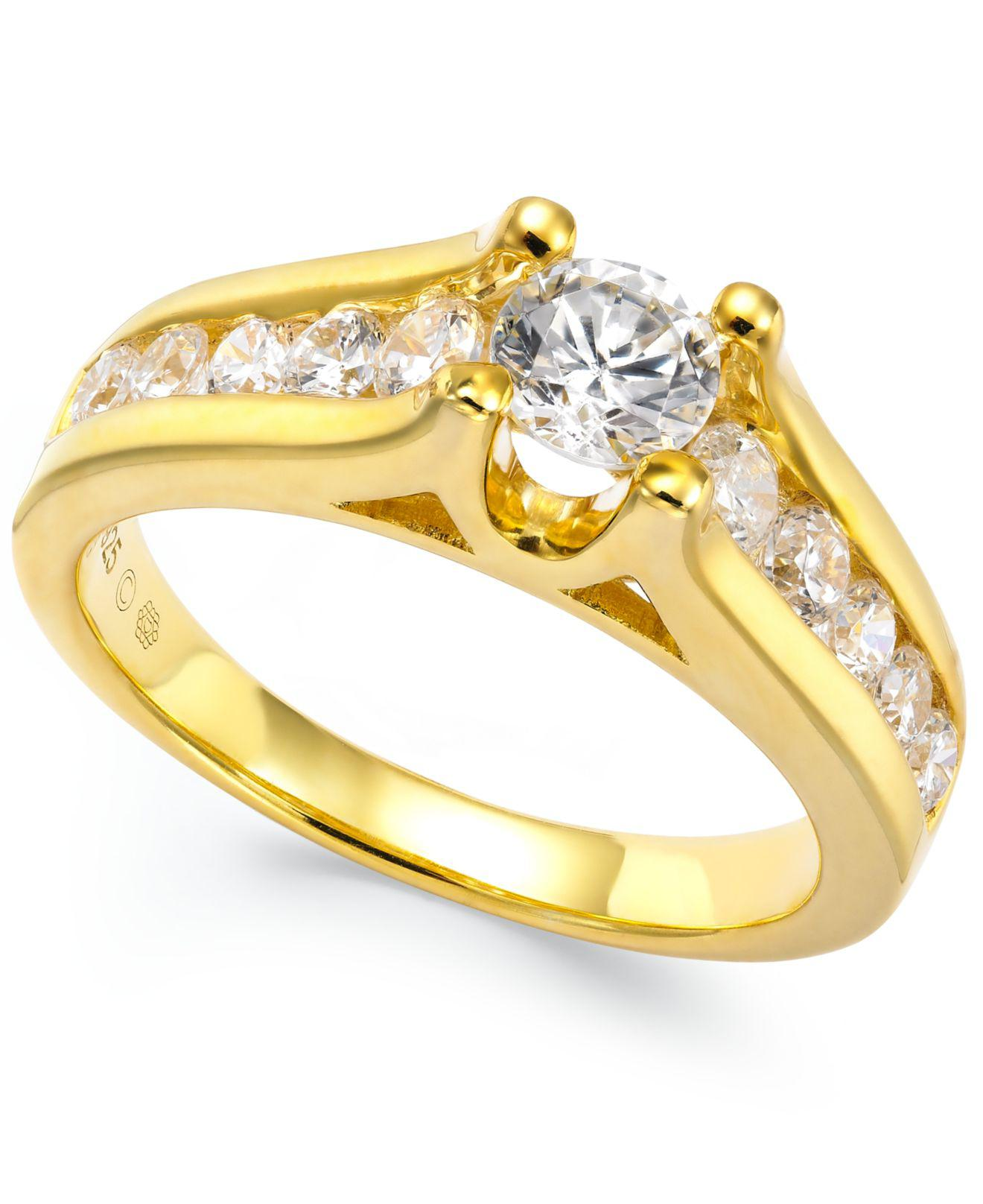 Macy's Certified Diamond Channel Engagement Ring In 14k