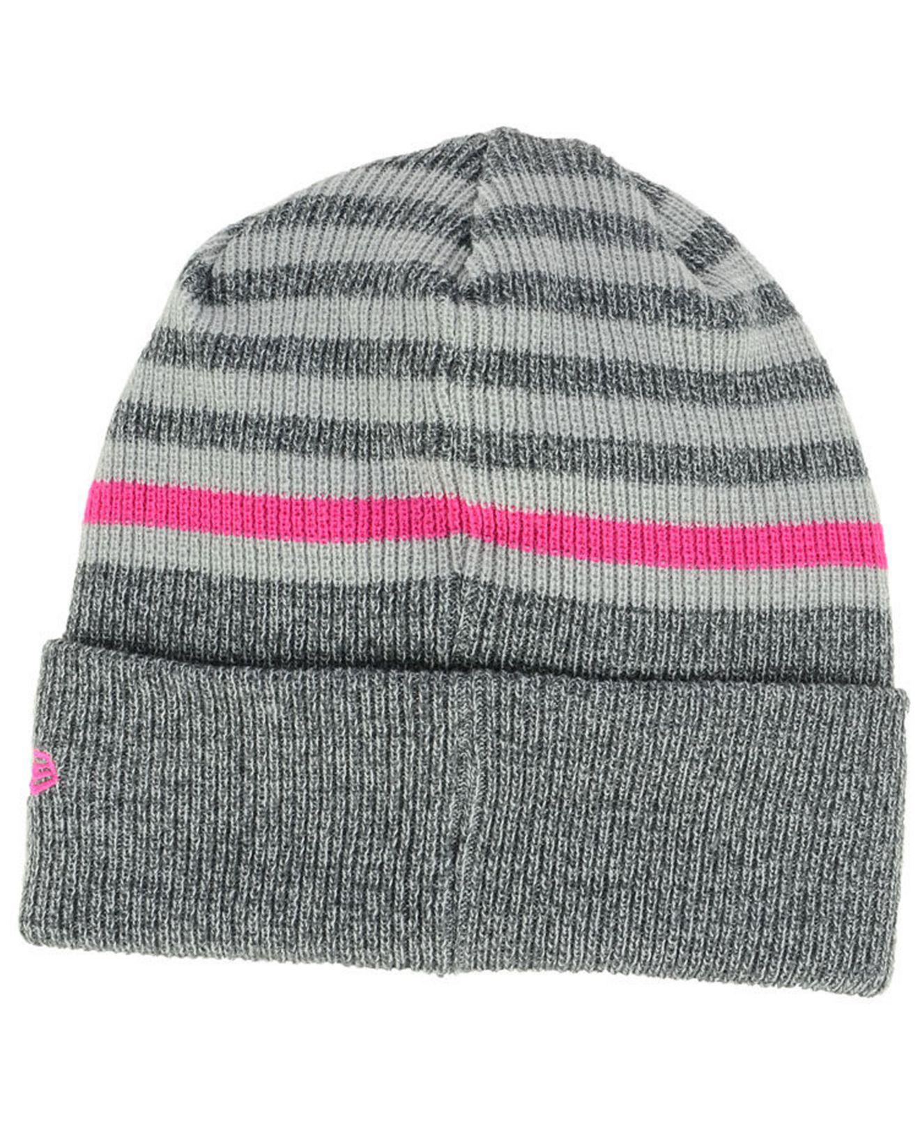 c99a51bb99a Lyst - Ktz Cleveland Cavaliers Striped Cuff Knit Hat in Gray