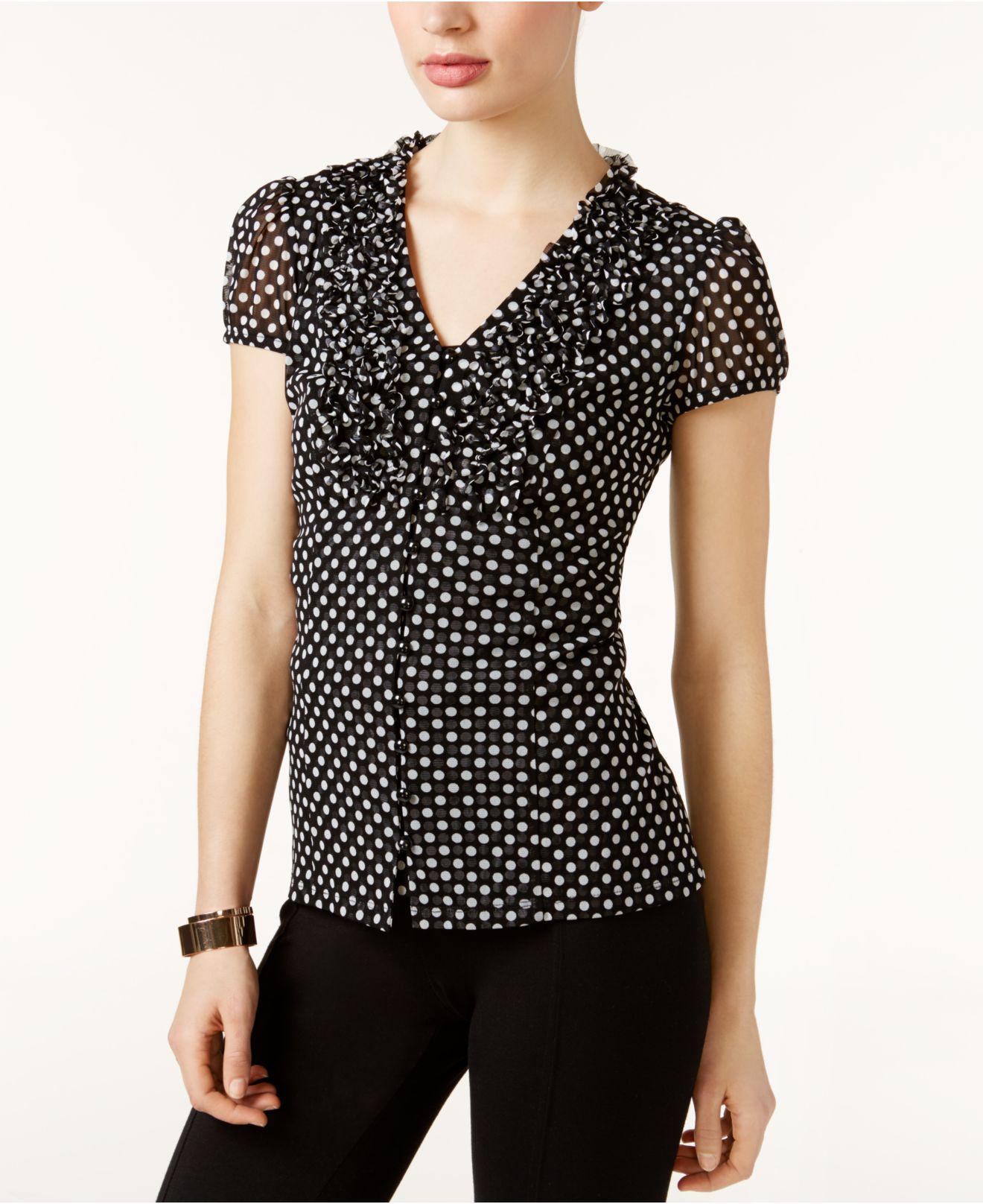 7f5ea70ed67f2 INC International Concepts. Women s Black I.n.c. Petite Ruffled Dot-print  Top ...
