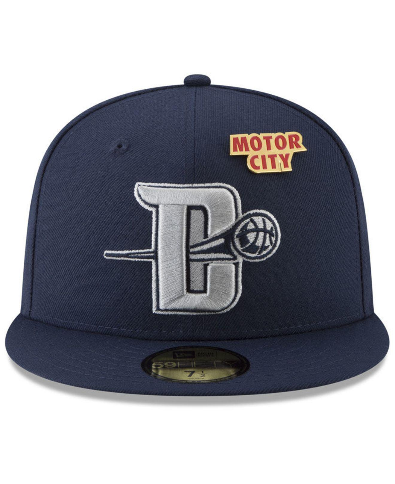 separation shoes 0548d 00c45 Lyst - KTZ Detroit Pistons City On-court 59fifty Fitted Cap in Blue for Men