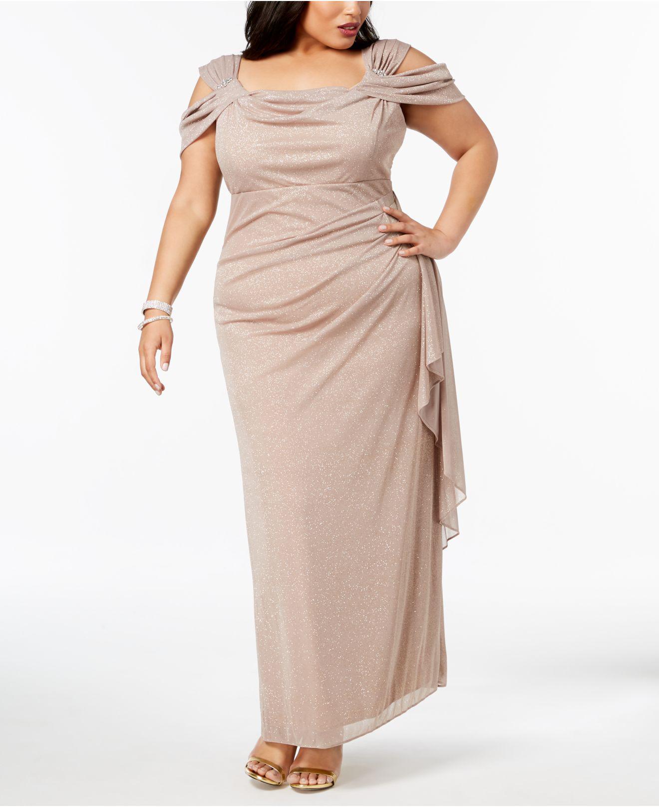 R & M Richards Multicolor Plus Size Draped Cold-shoulder Gown