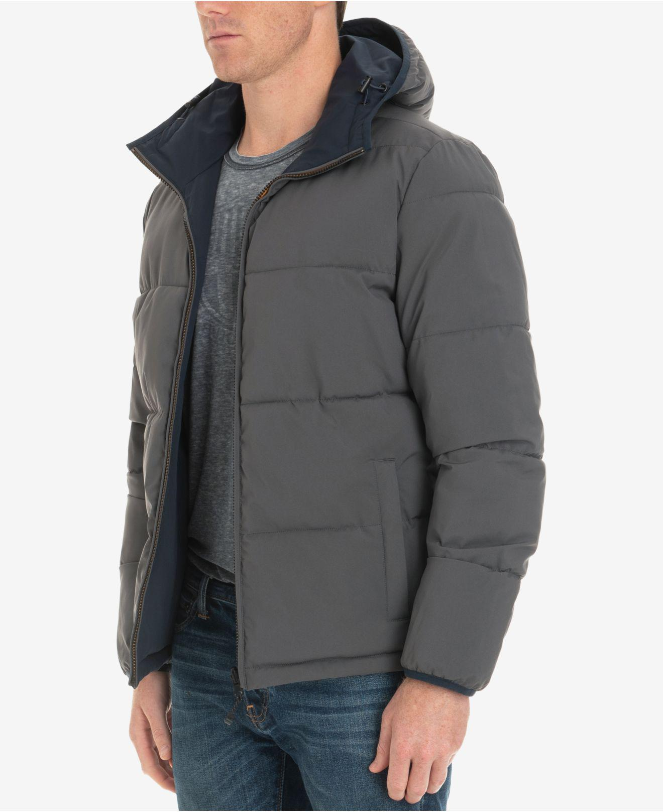 London Fog Mens Zip-Front Reversible Bomber Beekman Stretch Jacket