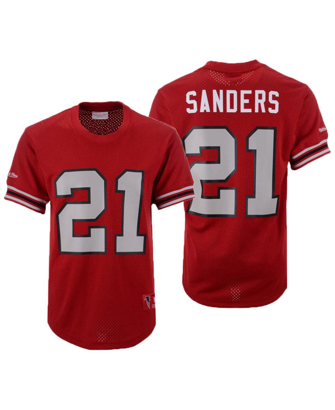newest ced60 00c8f Men's Red Deion Sanders Atlanta Falcons Mesh Name And Number Crewneck Jersey