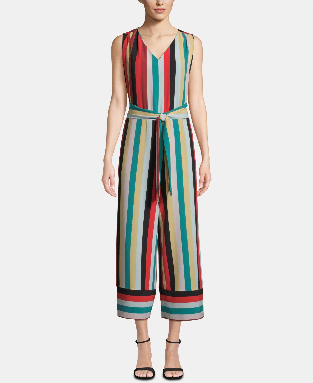 0a33ee8aae Eci. Women s Striped V-neck Sleeveless Cropped Jumpsuit