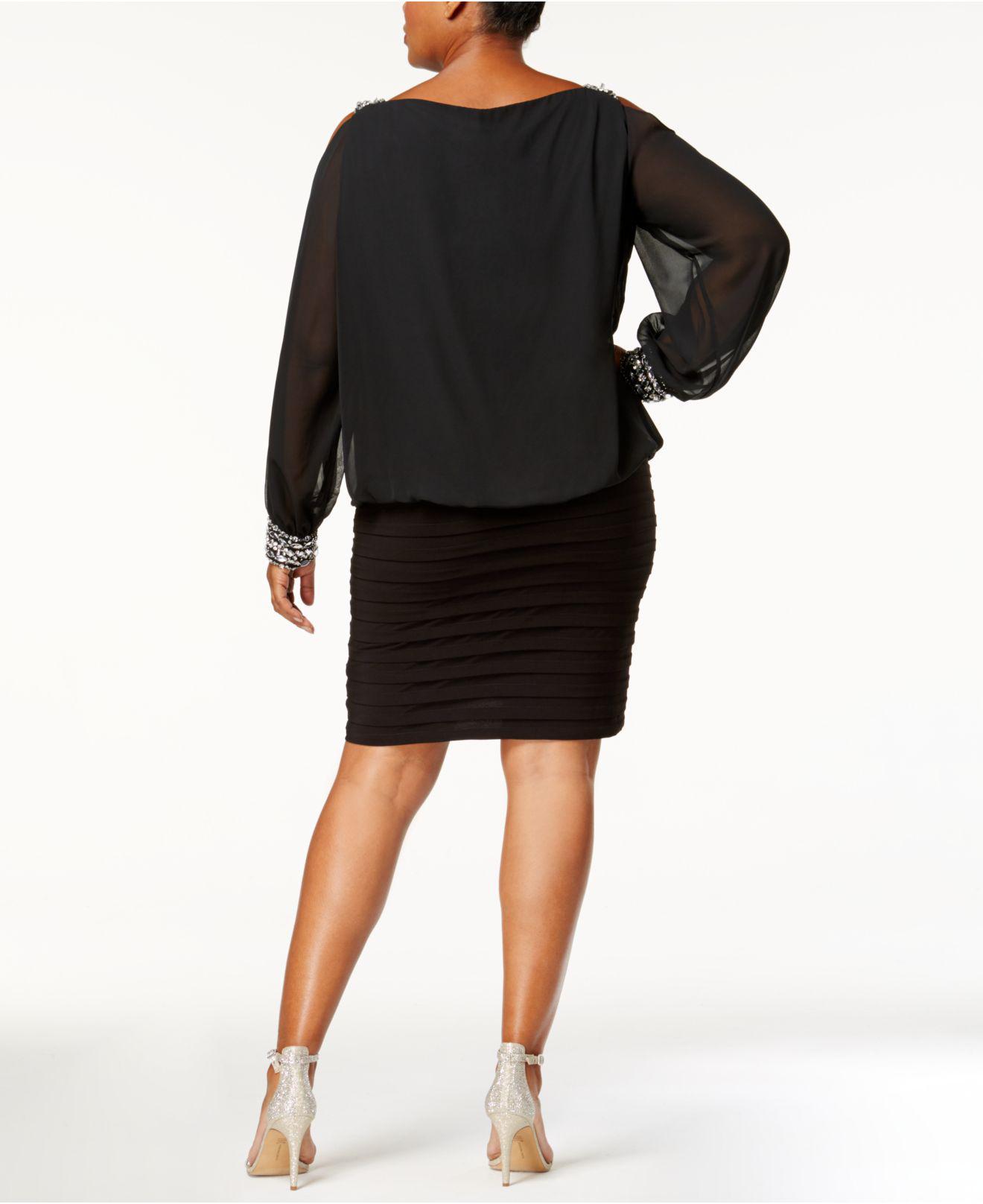49bd09c5dc2 Lyst - Betsy   Adam Plus Size Cold-shoulder Embellished Blouson Dress in  Black