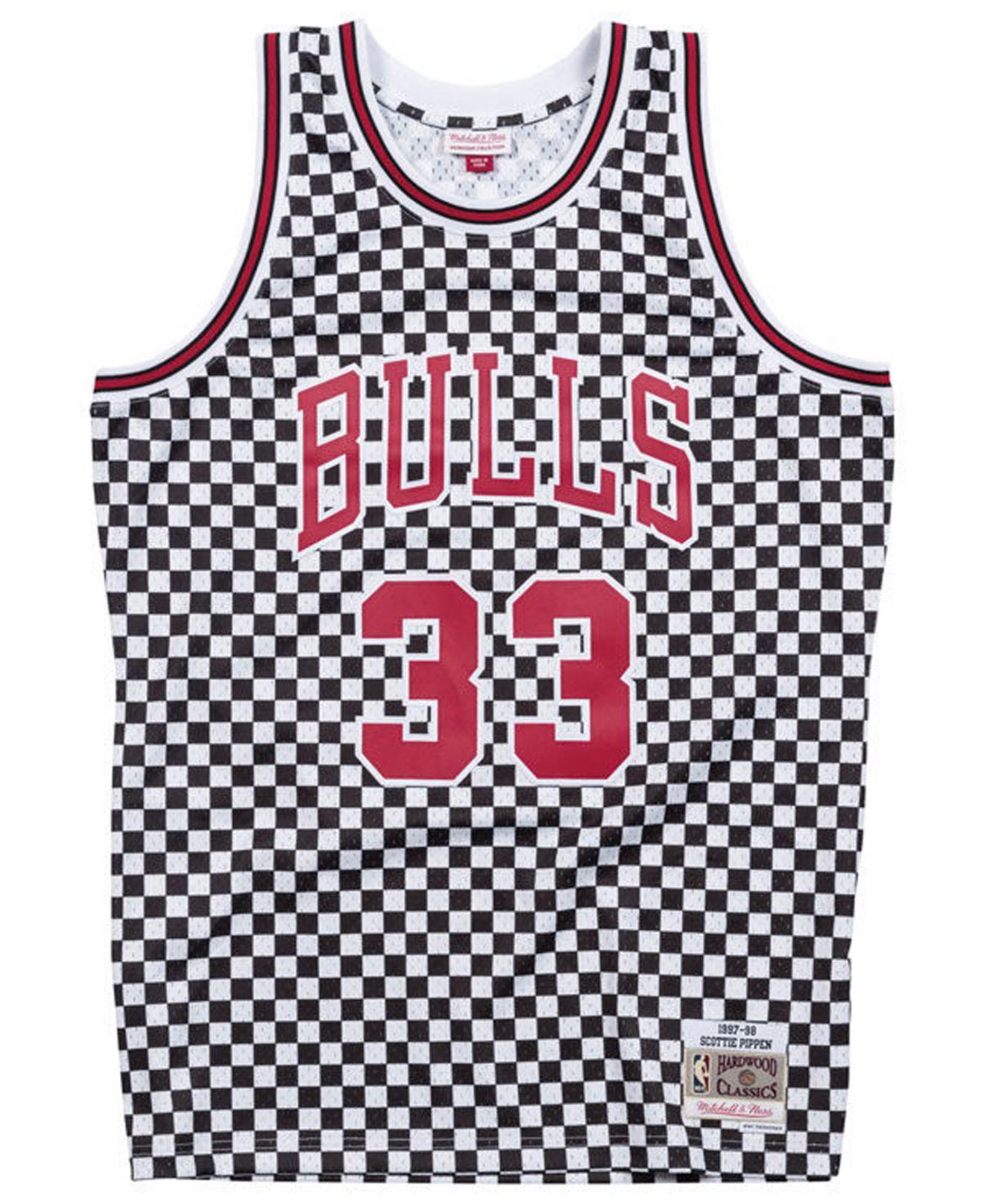 best website 9b752 7dccd Men's Red Scottie Pippen Chicago Bulls Checkerboard Swingman Jersey