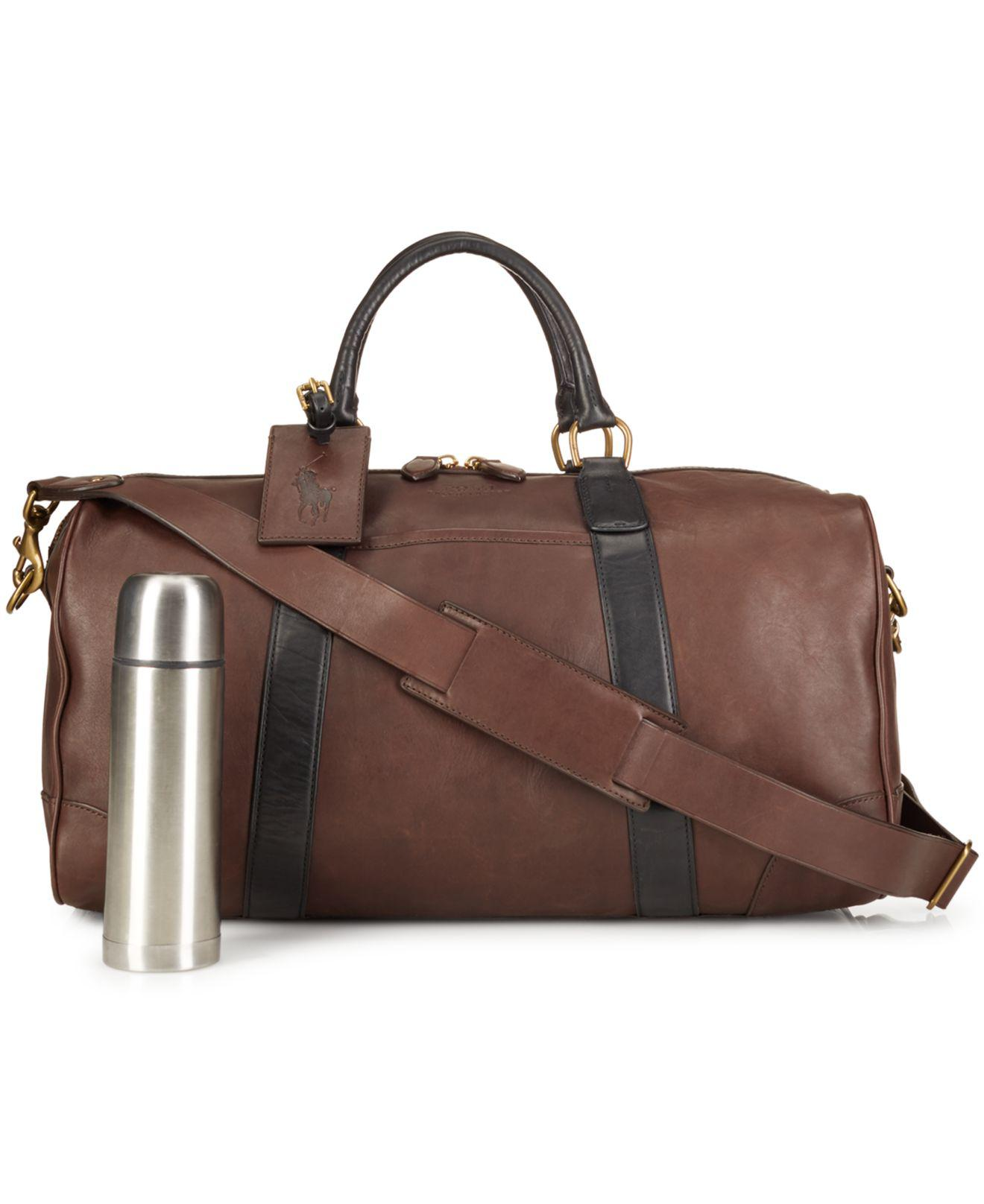 07f443f2eb Lyst - Polo Ralph Lauren Two-toned Leather Duffel Bag in Brown for Men