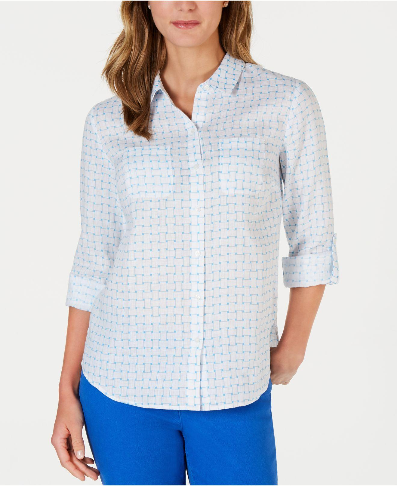 08b220e2455 Charter Club. Women s Blue Printed Linen Shirt ...