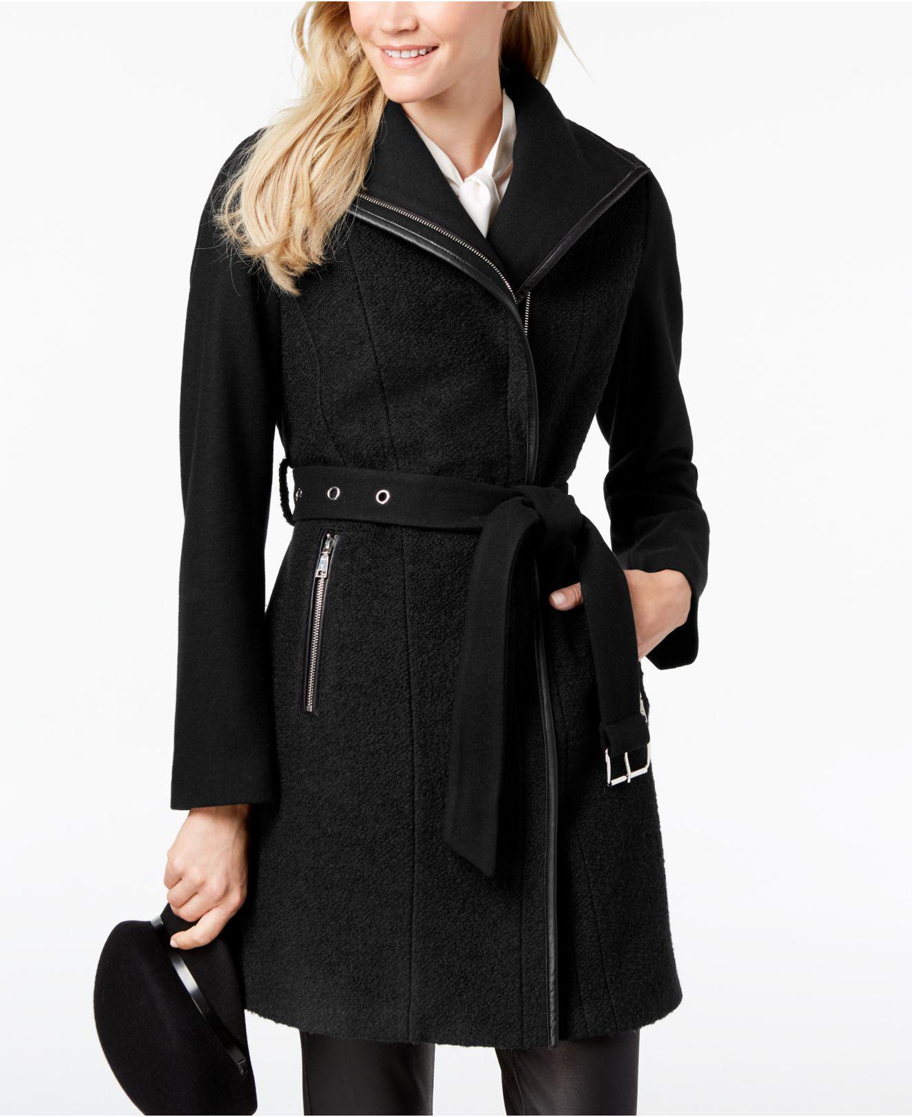 bf7e557c5def8 Lyst - T Tahari Elaine Asymmetrical Belted Coat in Black