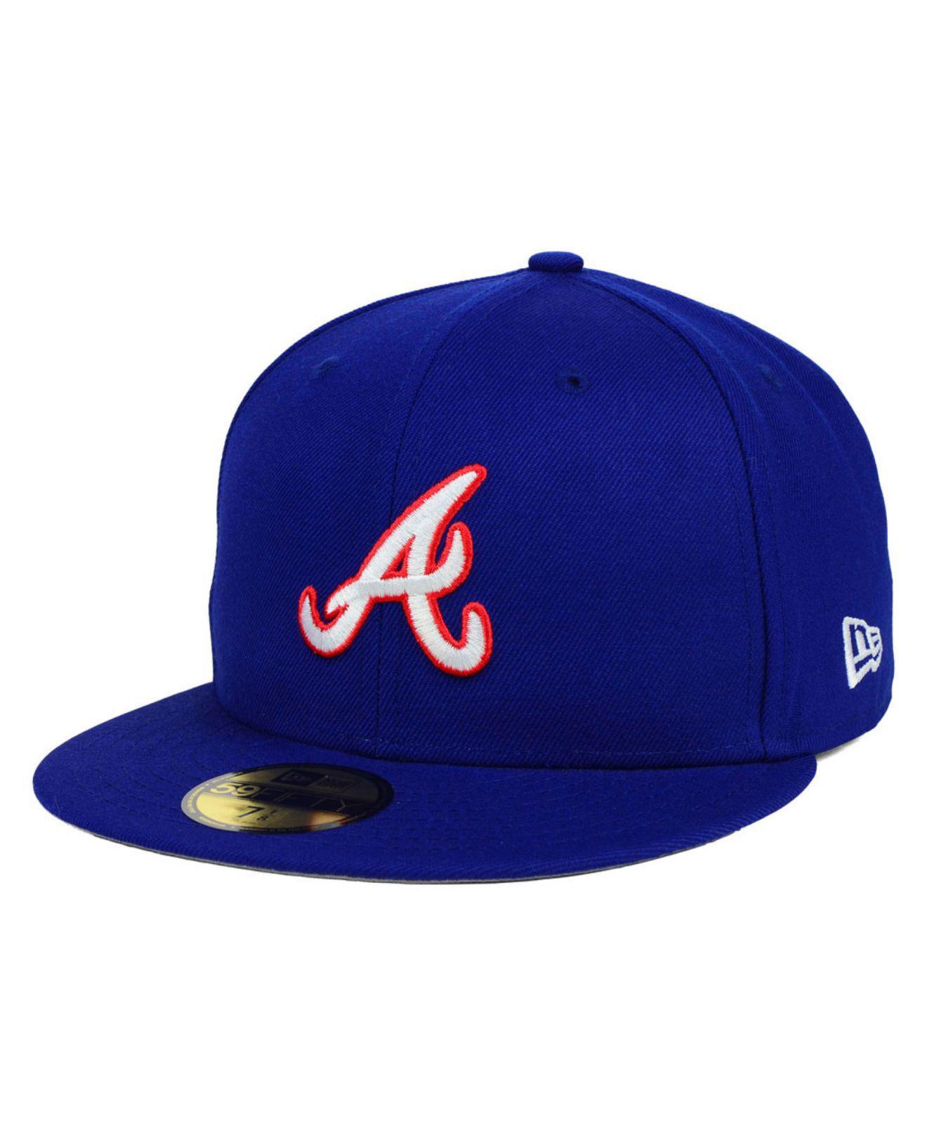 new concept 4ebea df76a KTZ. Men s Blue Atlanta Braves Mlb Cooperstown 59fifty Cap