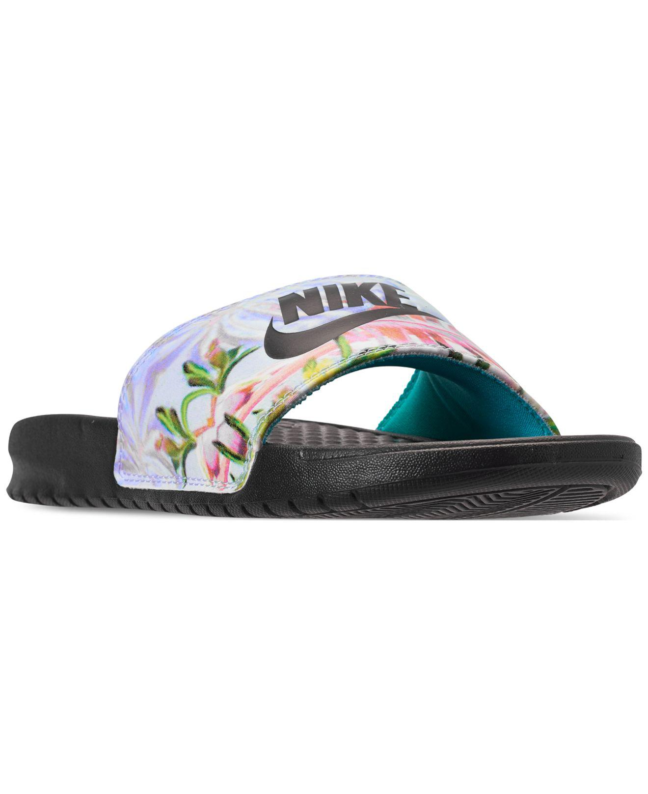 1a383bb3aaae3a Nike. Women s Black Benassi Just Do It Print Slide Sandals From Finish Line