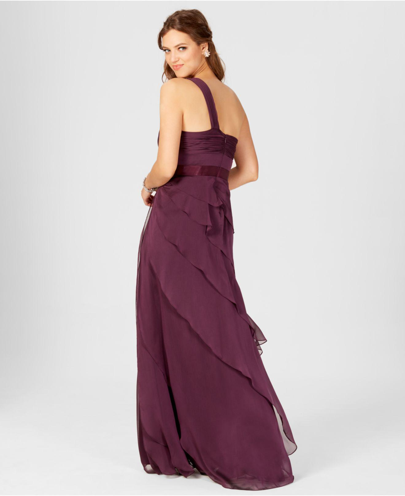 Lyst - Adrianna Papell One-shoulder Tiered Chiffon Gown in Purple