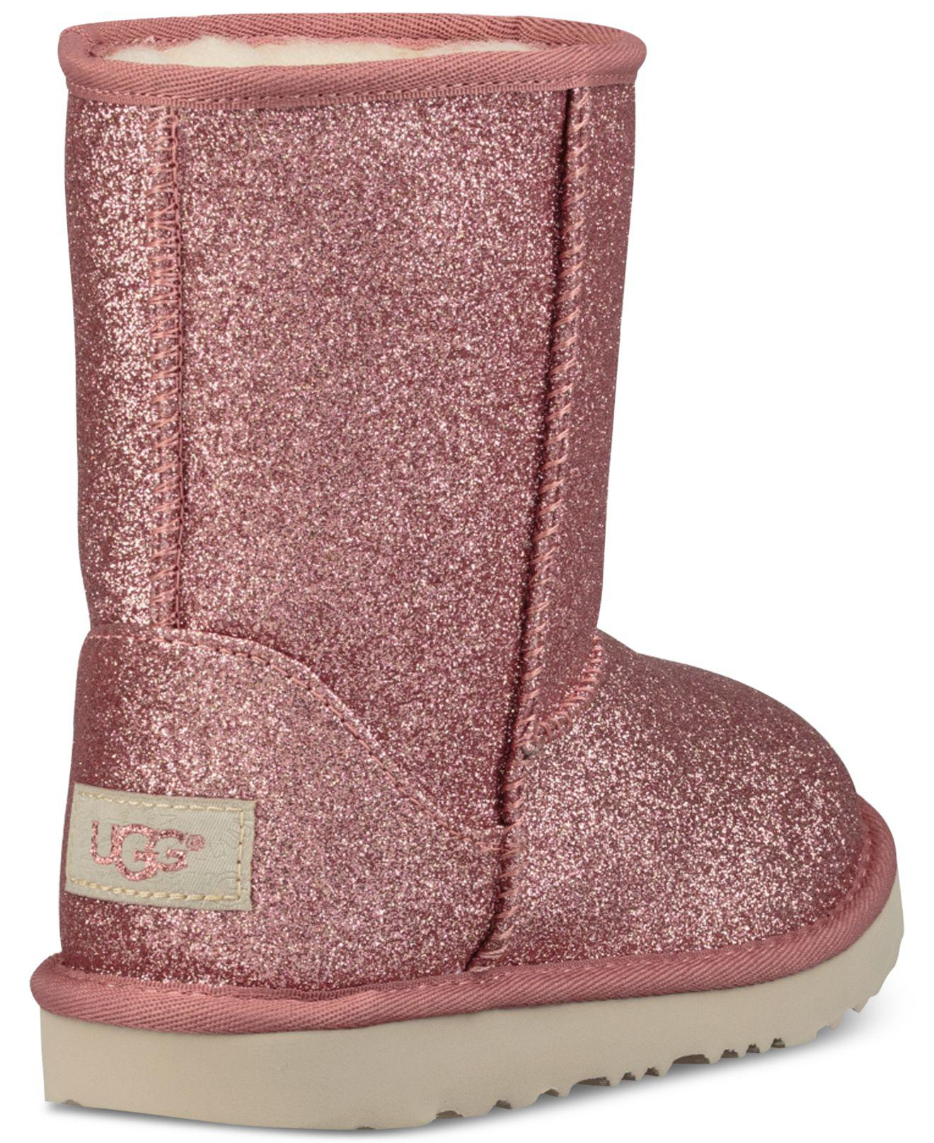 7dc5419f0b6 Ugg Pink Toddler Classic Short Ii Glitter Boots