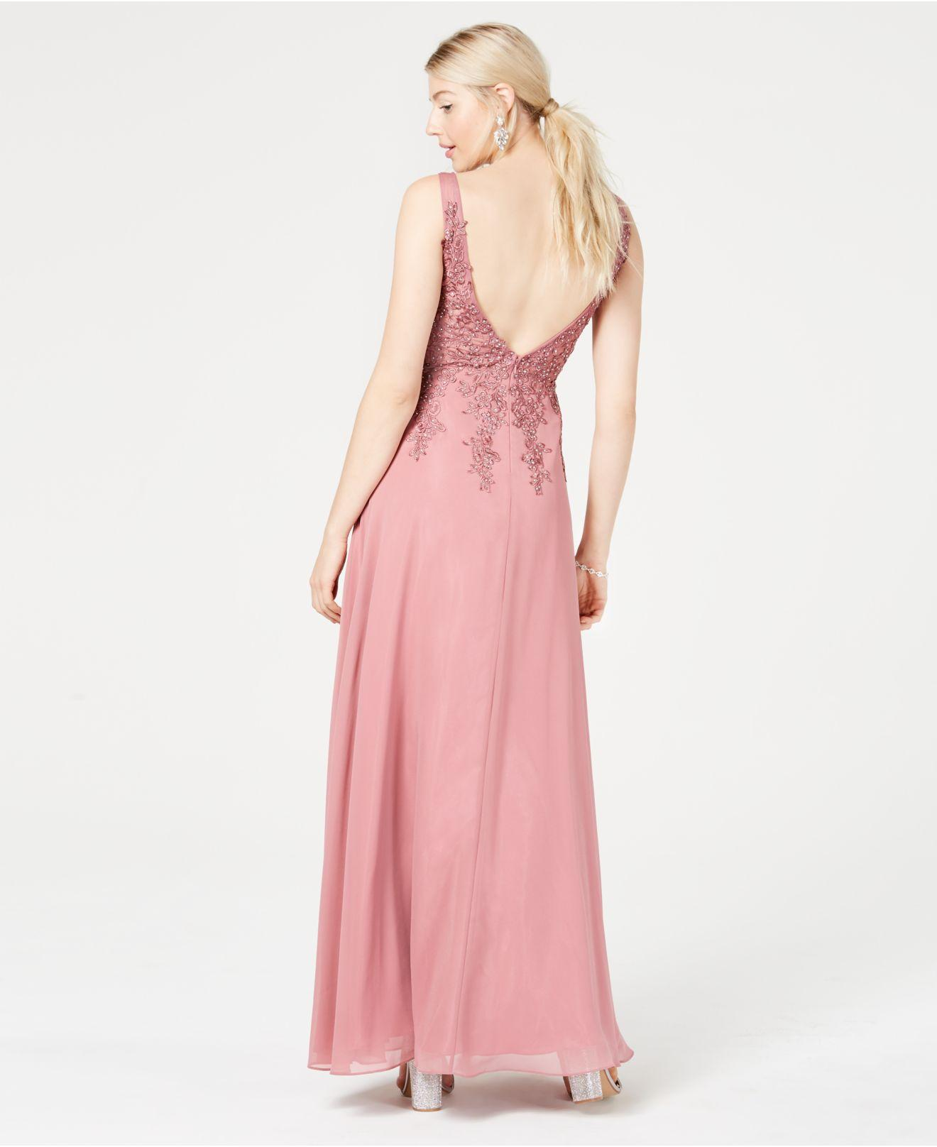 bf74a29dc Lyst - Blondie Nites Juniors' Chiffon Embroidered Gown, Created For Macy's  in Pink