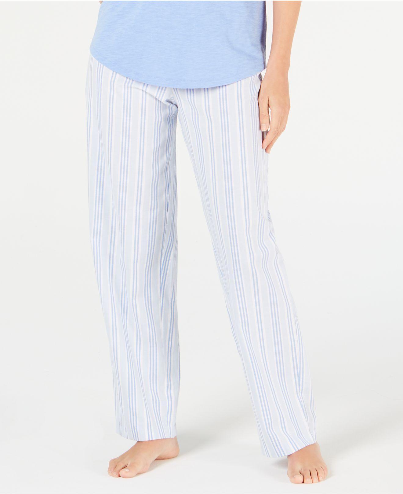 8cbe58256fda Charter Club. Women's Blue Stripe-print Woven Soft Cotton Pajama Pants ...