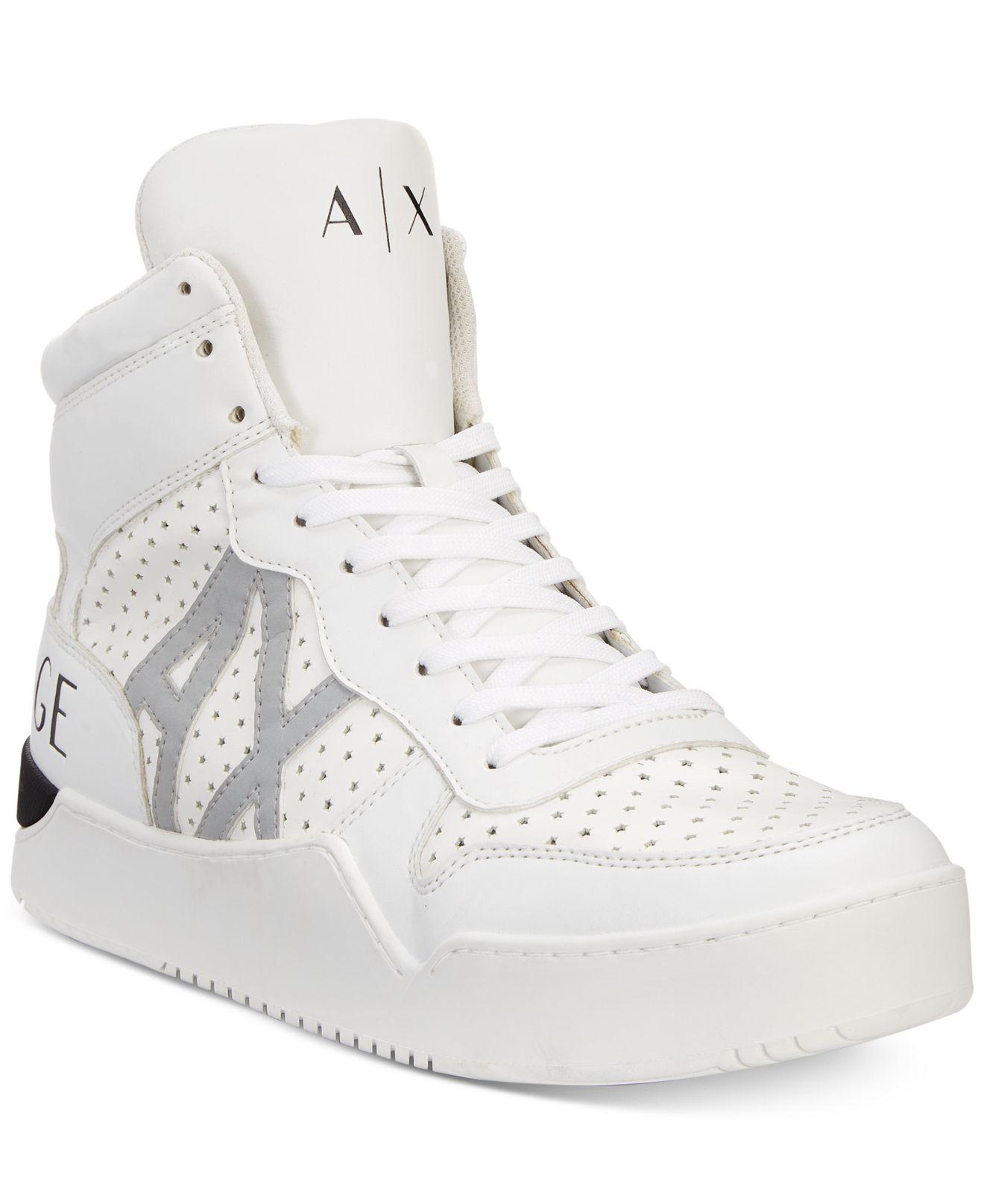 Lyst - Armani Exchange Logo High-top Perforated Sneakers in White ... 0b661ba087e