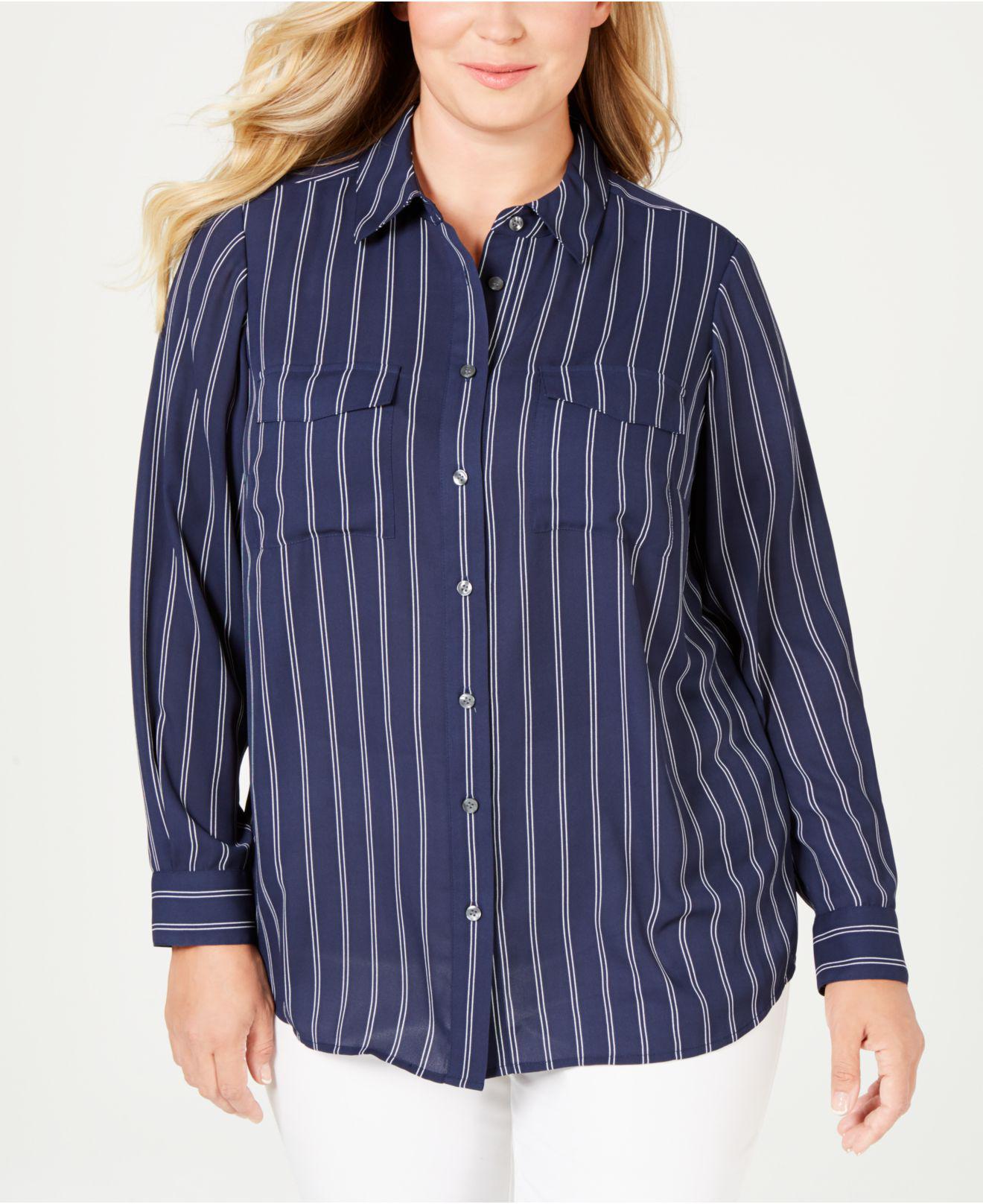 5337e9a2deb Charter Club. Women s Blue Plus Size Striped Shirt ...