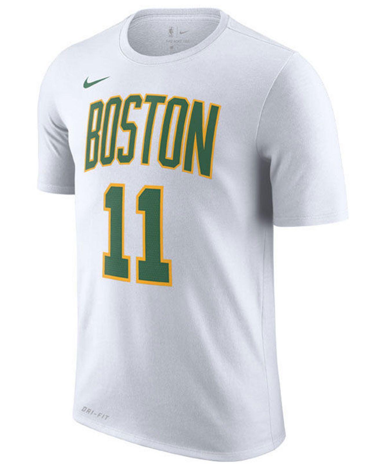online store 11410 fa641 Men's White Kyrie Irving Boston Celtics City Player T-shirt 2018