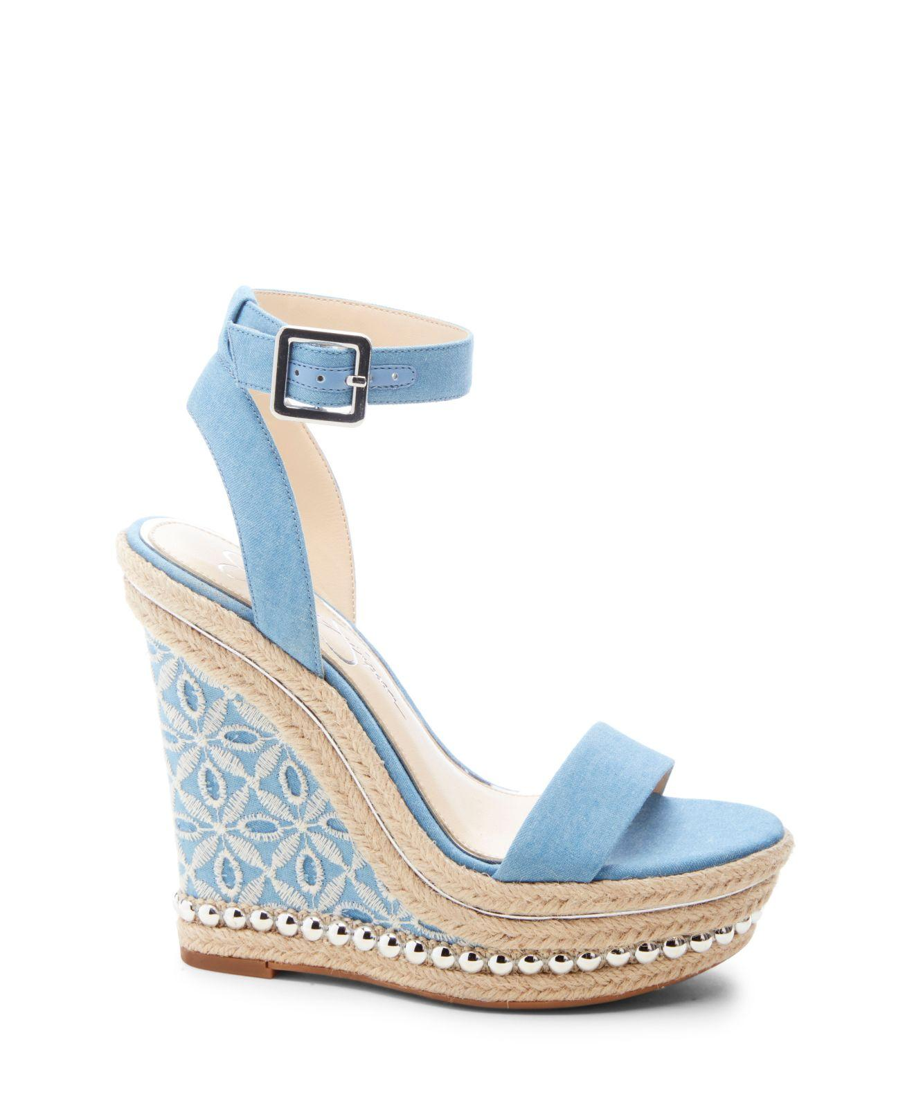 f86026d8cbf Lyst - Jessica Simpson Alinda Woven Platform Wedge Sandals in Blue