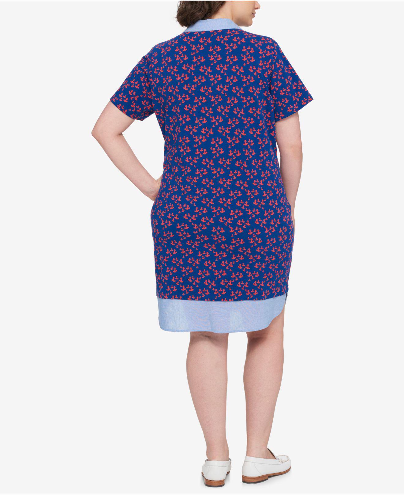 Plus Size Printed Polo Dress
