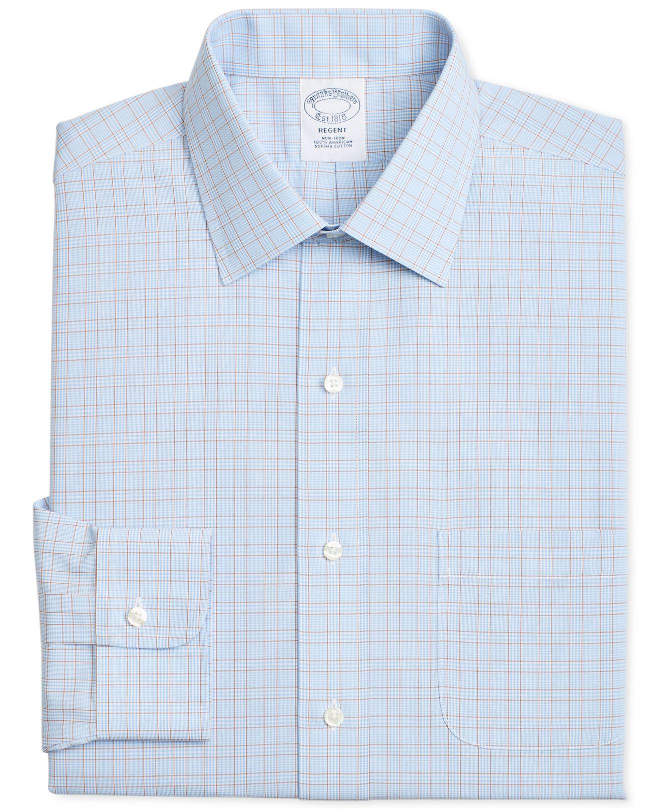 f5e8167c7f7e4 Brooks Brothers. Men s Regent Slim-fit Non-iron Blue Brown Overcheck Dress  Shirt