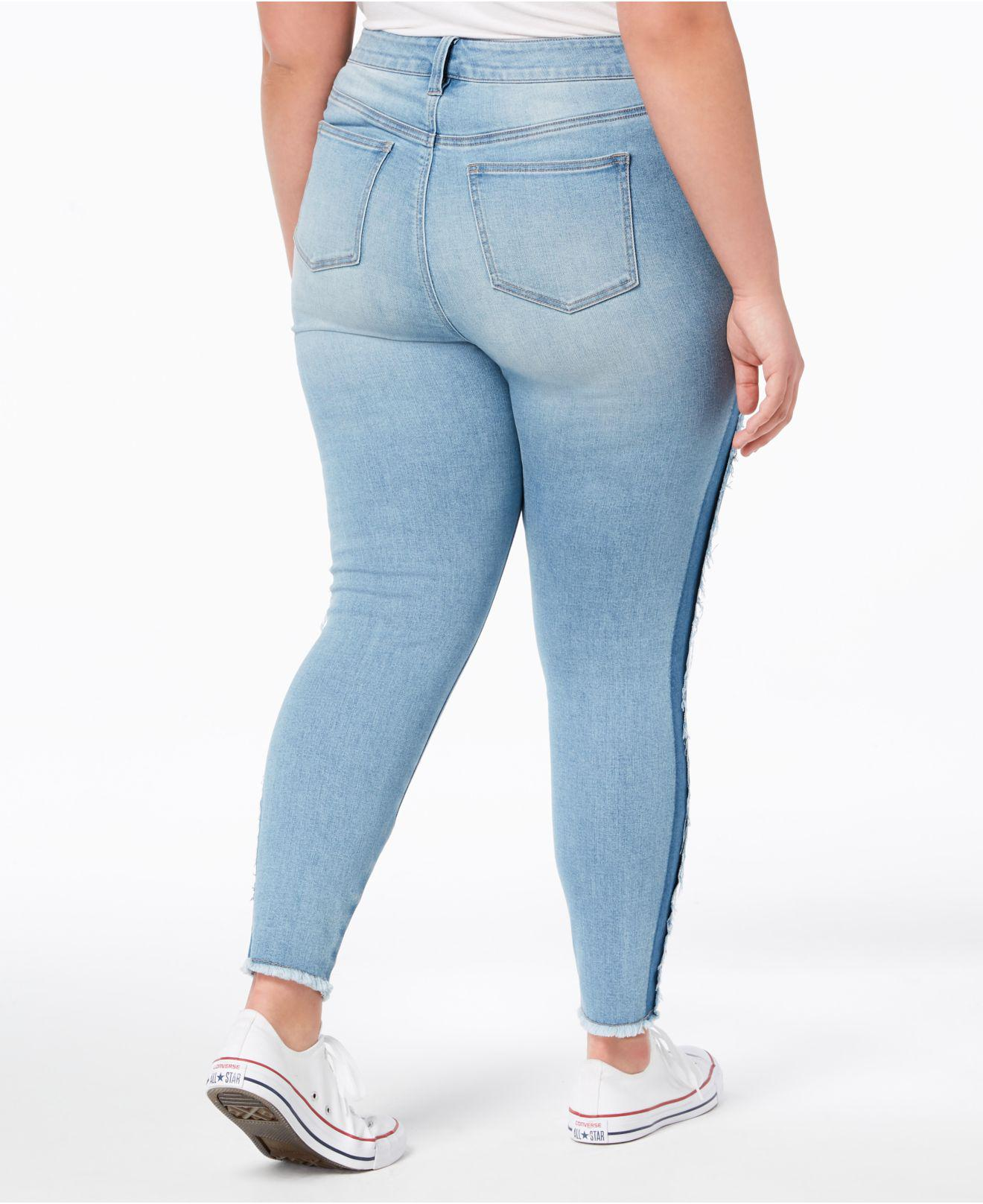 Celebrity Pink Plus Size Ripped Two-Tone Skinny Jeans