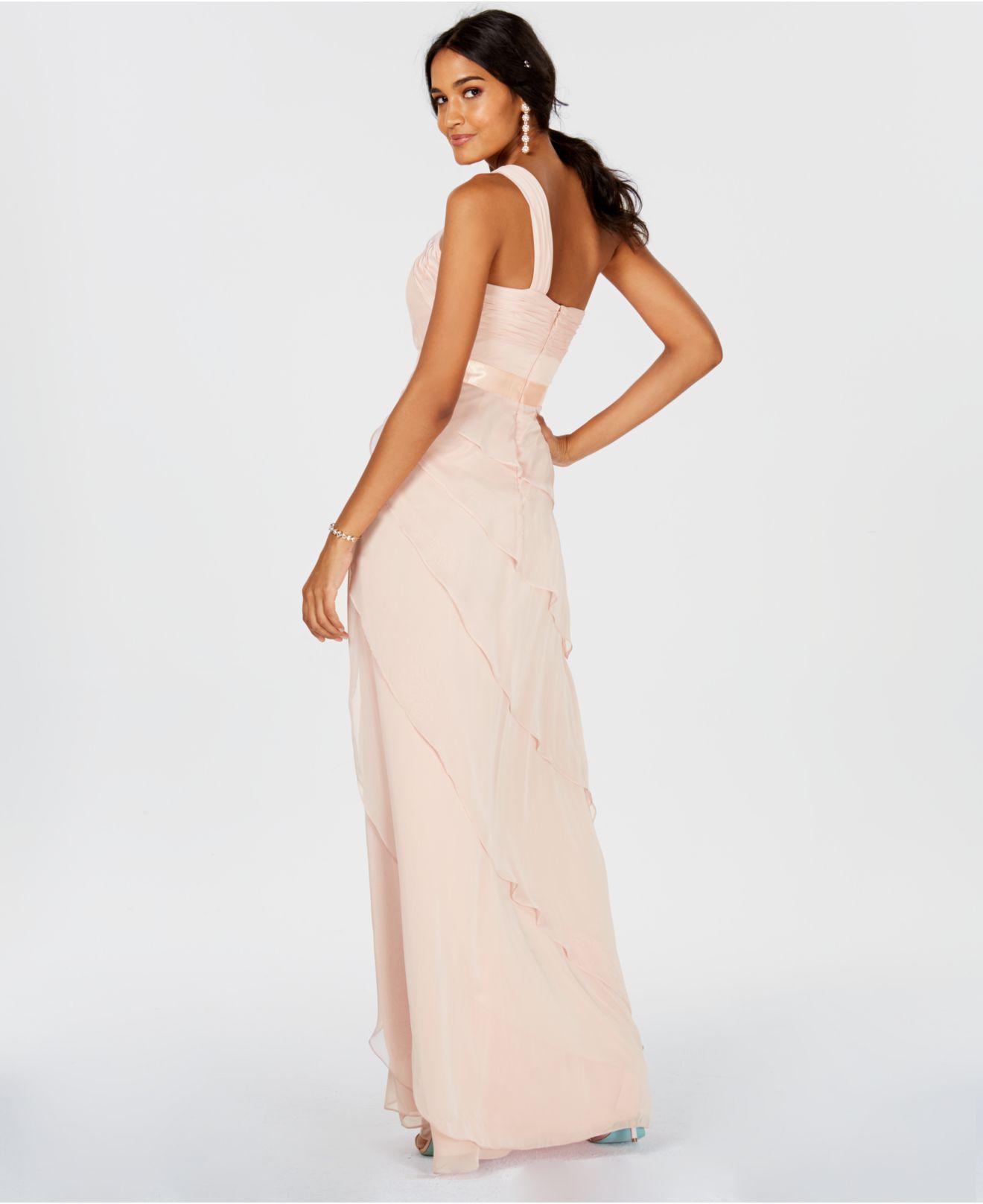 one shoulder chiffon tiered prom dress