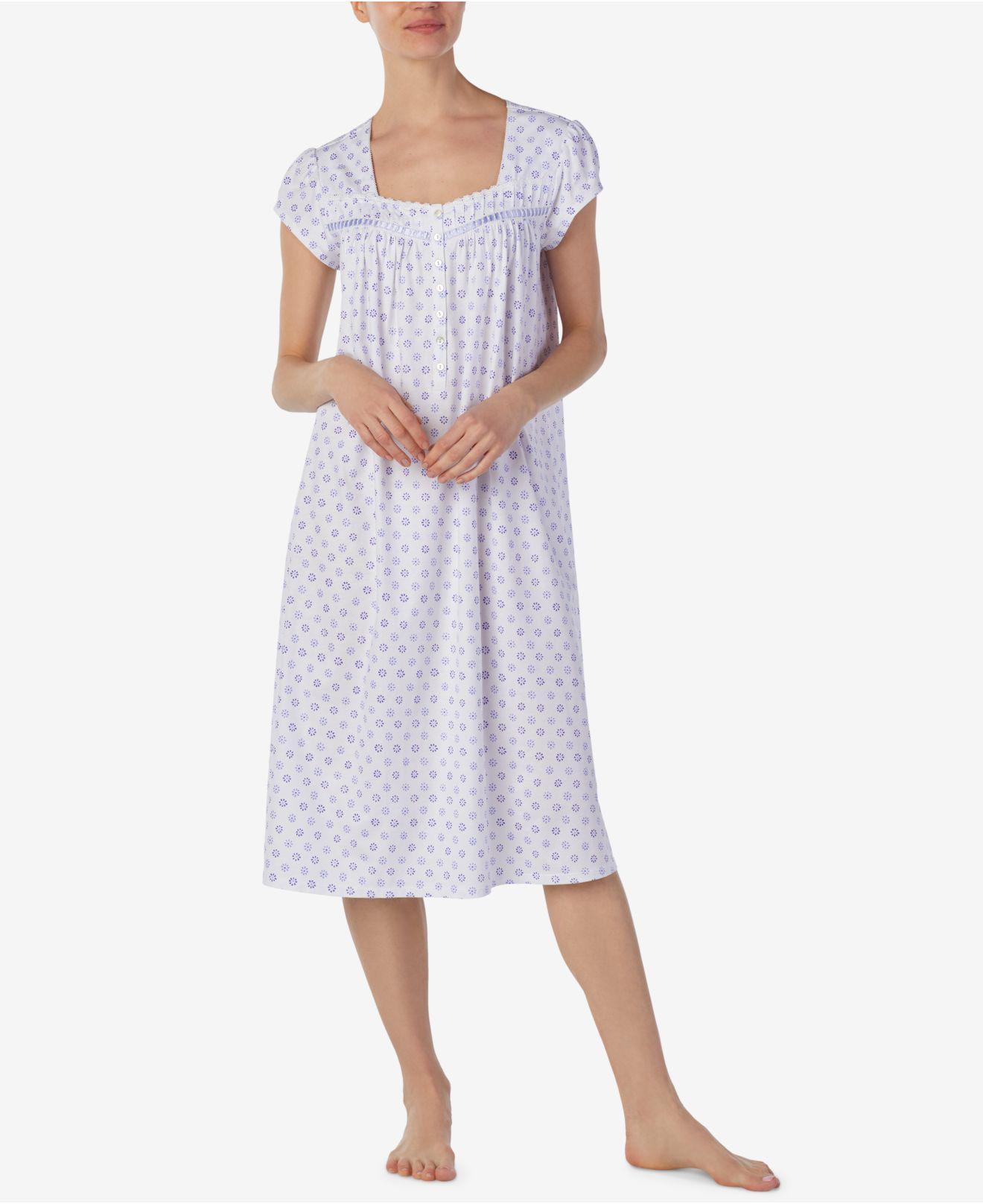 Eileen West Ballet Floral-Print Cotton Knit Nightgown jkUXkn