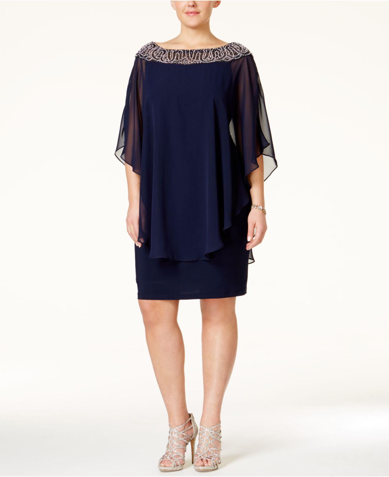 Lyst Xscape Plus Size Beaded Chiffon Capelet Dress In Blue Save 6
