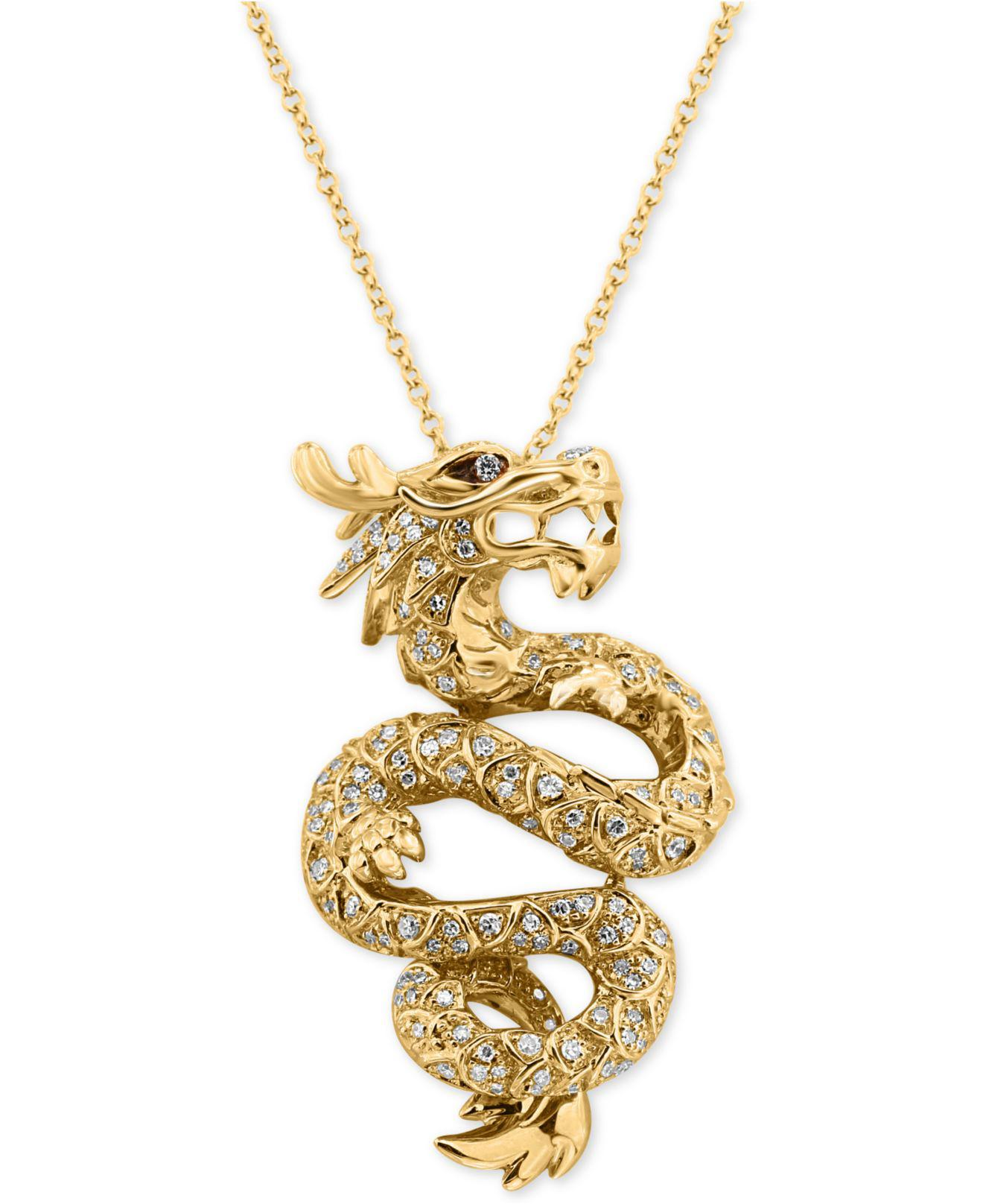 Effy Collection Diamond Dragon Pendant Necklace 5 8 Ct T