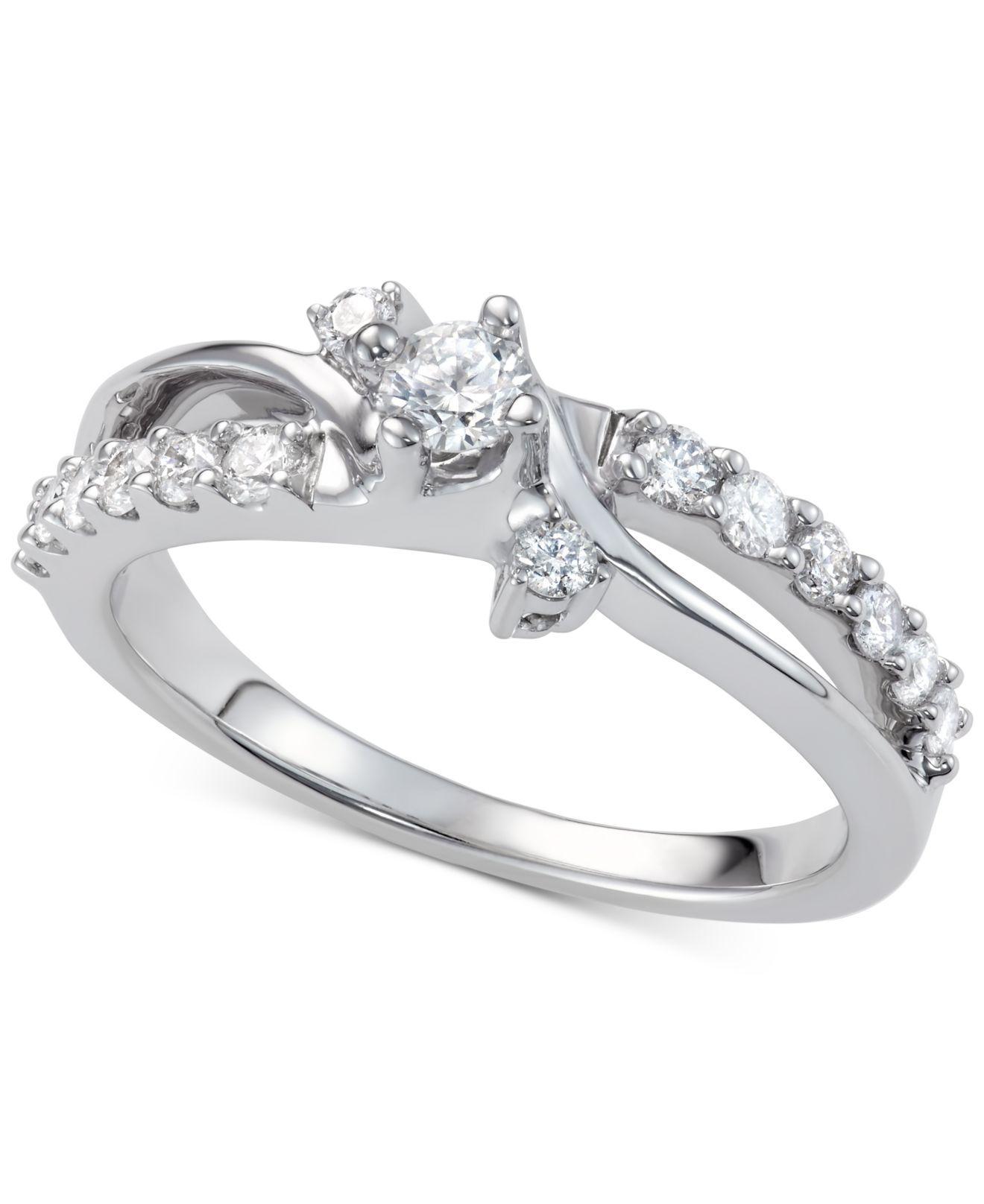 Macy s Diamond Swirl Engagement Ring 7 8 Ct T w In 14k White