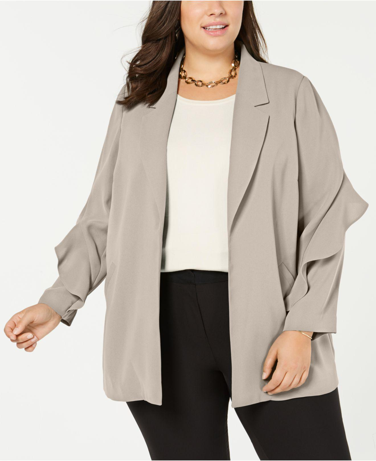 039edb230586b7 Lyst - Alfani Plus Size Flounce-sleeve Jacket, Created For Macy's in ...