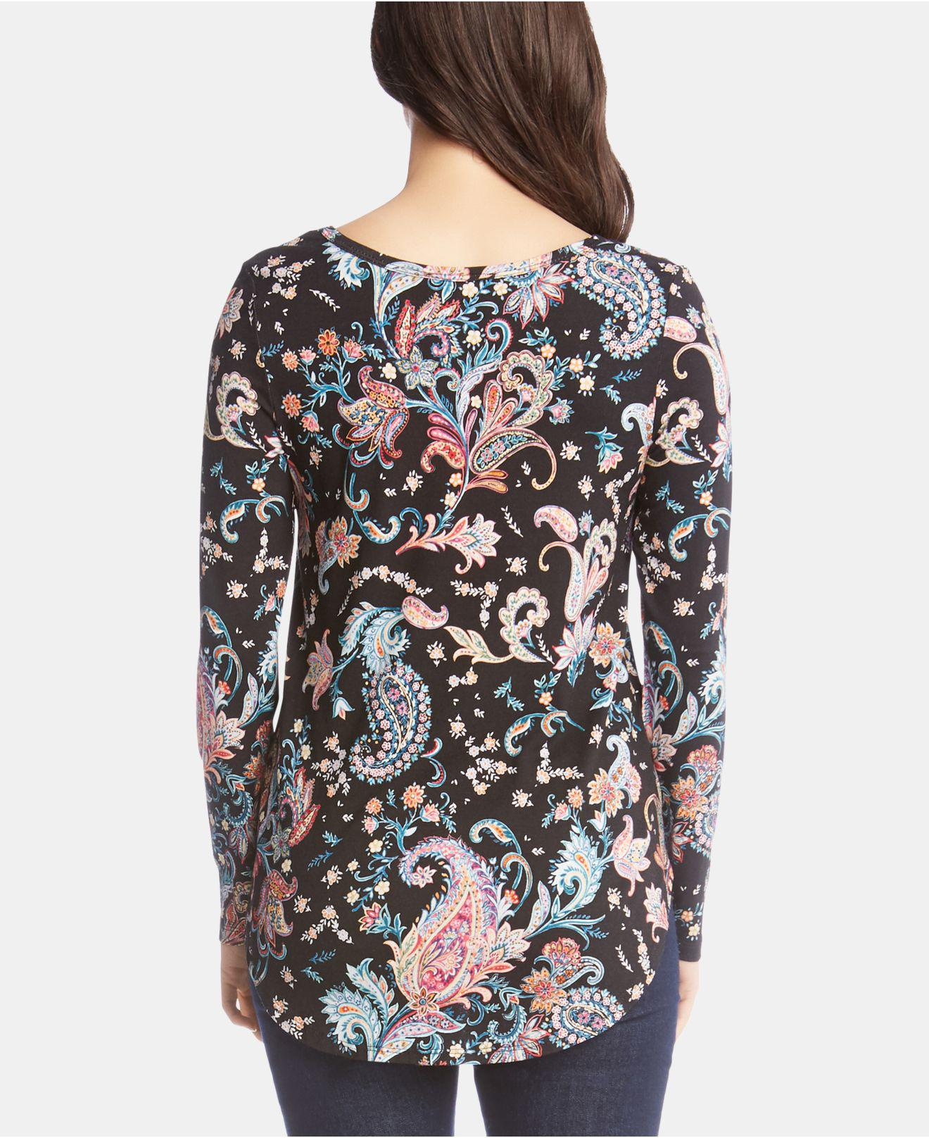 a923a47ac63a8 Lyst - Karen Kane Printed Shirttail-hem Top