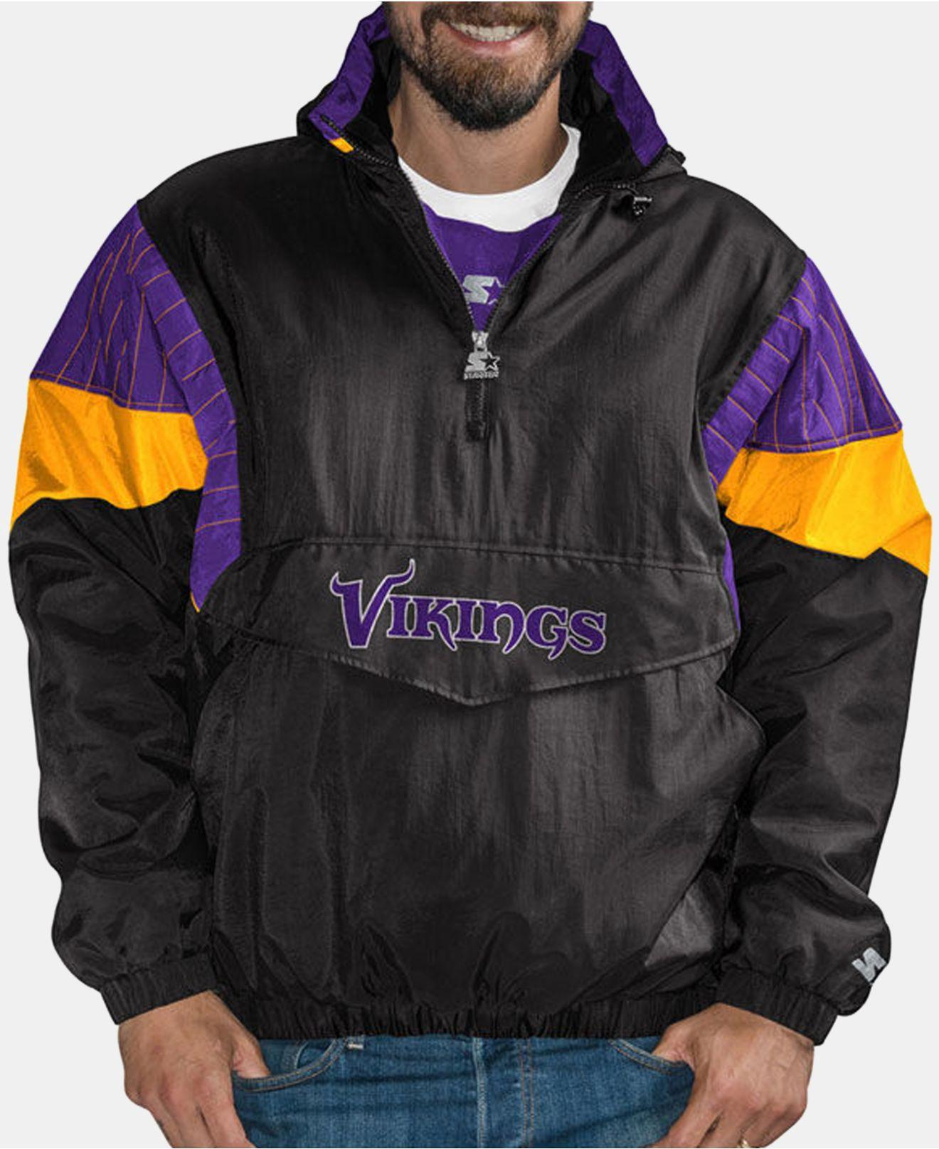 online store 2ffcc 9a6a6 Men's Black Minnesota Vikings Drop Back Nylon Front Zip Pullover Jacket
