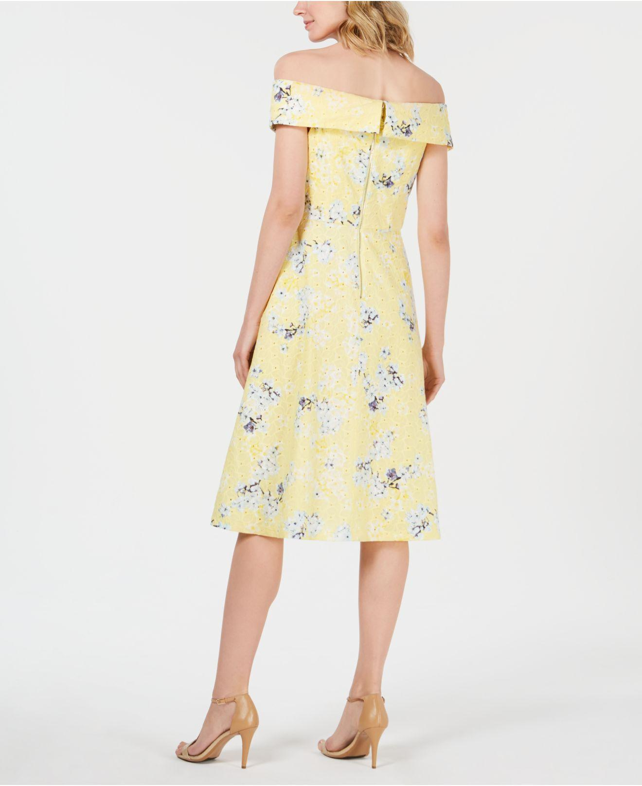 88dfbb8775 Lyst - Calvin Klein Off-the-shoulder Printed Eyelet Dress in Yellow - Save  16%