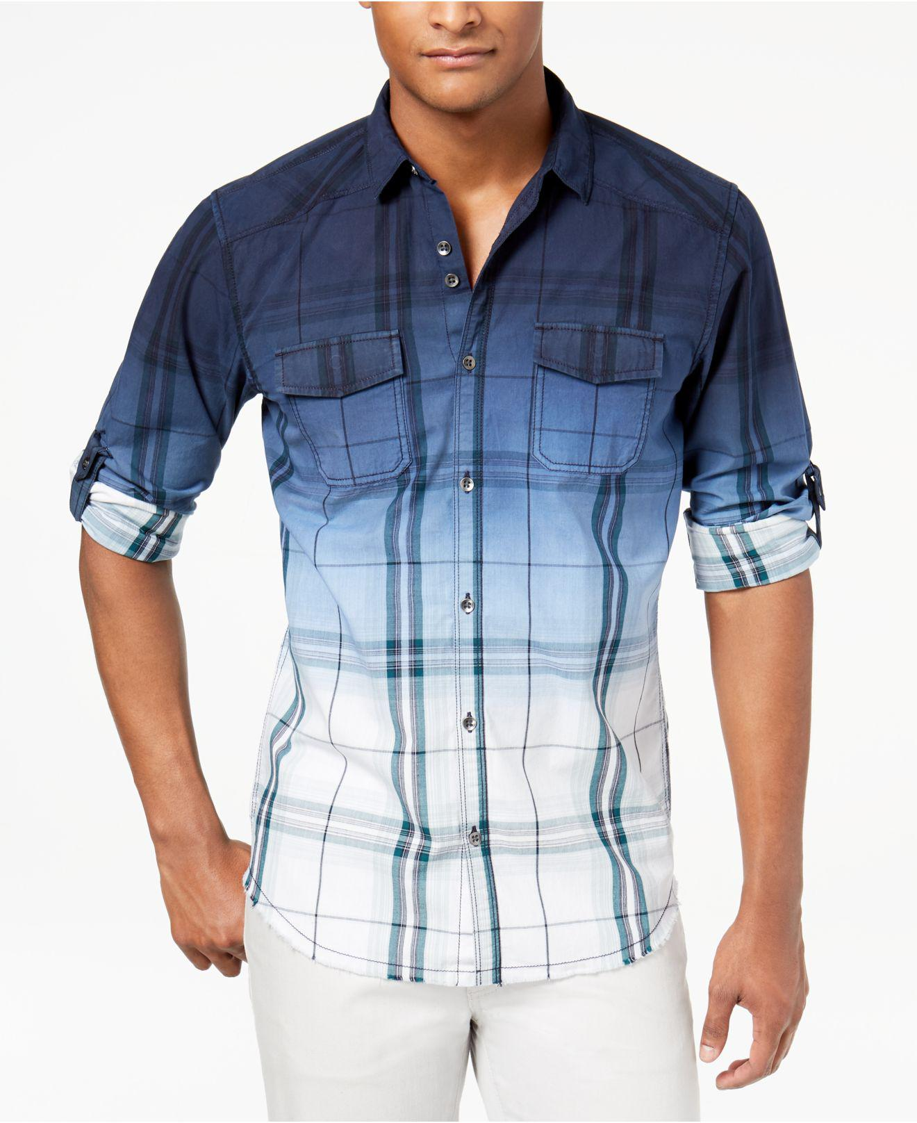 Lyst - INC International Concepts Men s Dip-dyed Plaid Shirt in Blue ... a4c43b515