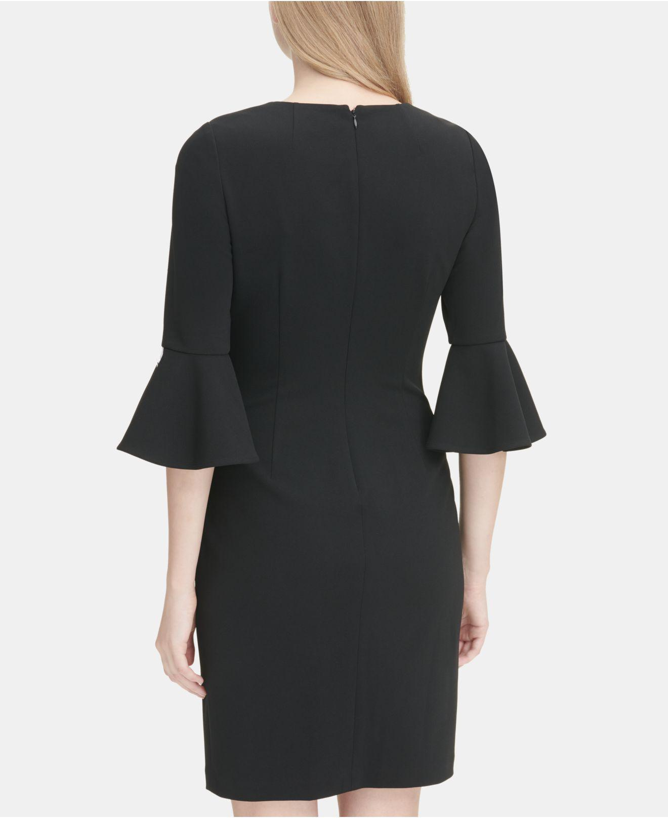 4d99cc73 Lyst - Calvin Klein Crepe Sheath Dress With Piping in Black - Save  50.3875968992248%