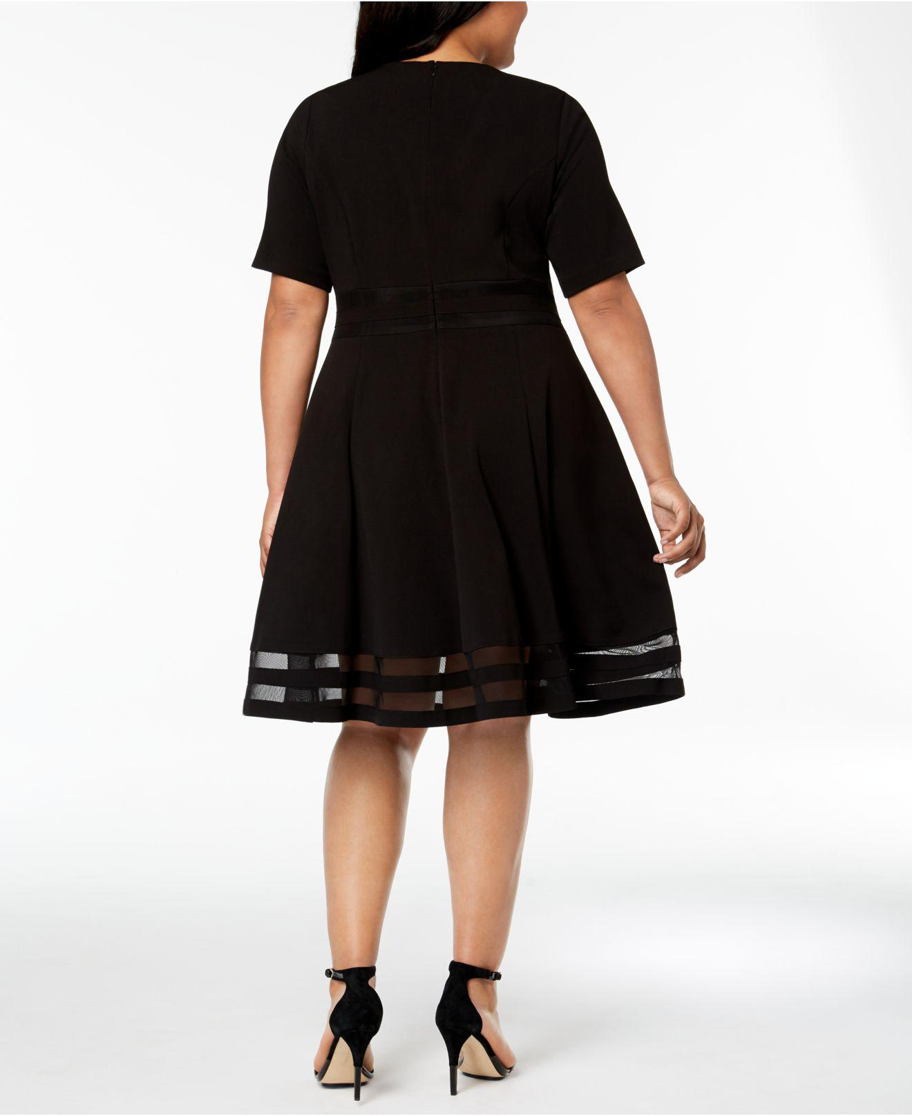 aab995cbc715b Lyst - Calvin Klein Plus Size Illusion-inset Fit   Flare Dress in Black