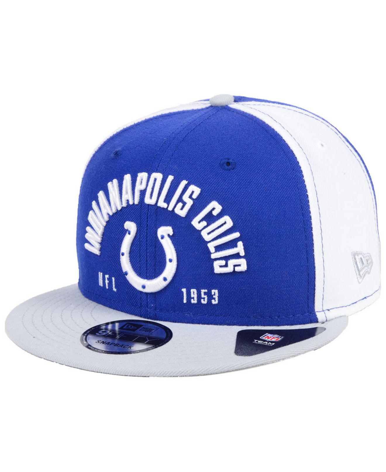 brand new 732eb f3dea shop new era nfl team color basic 9fifty snapback cap hats 35fac ef4d0   closeout ktz blue indianapolis colts establisher 9fifty snapback cap for  men lyst. ...
