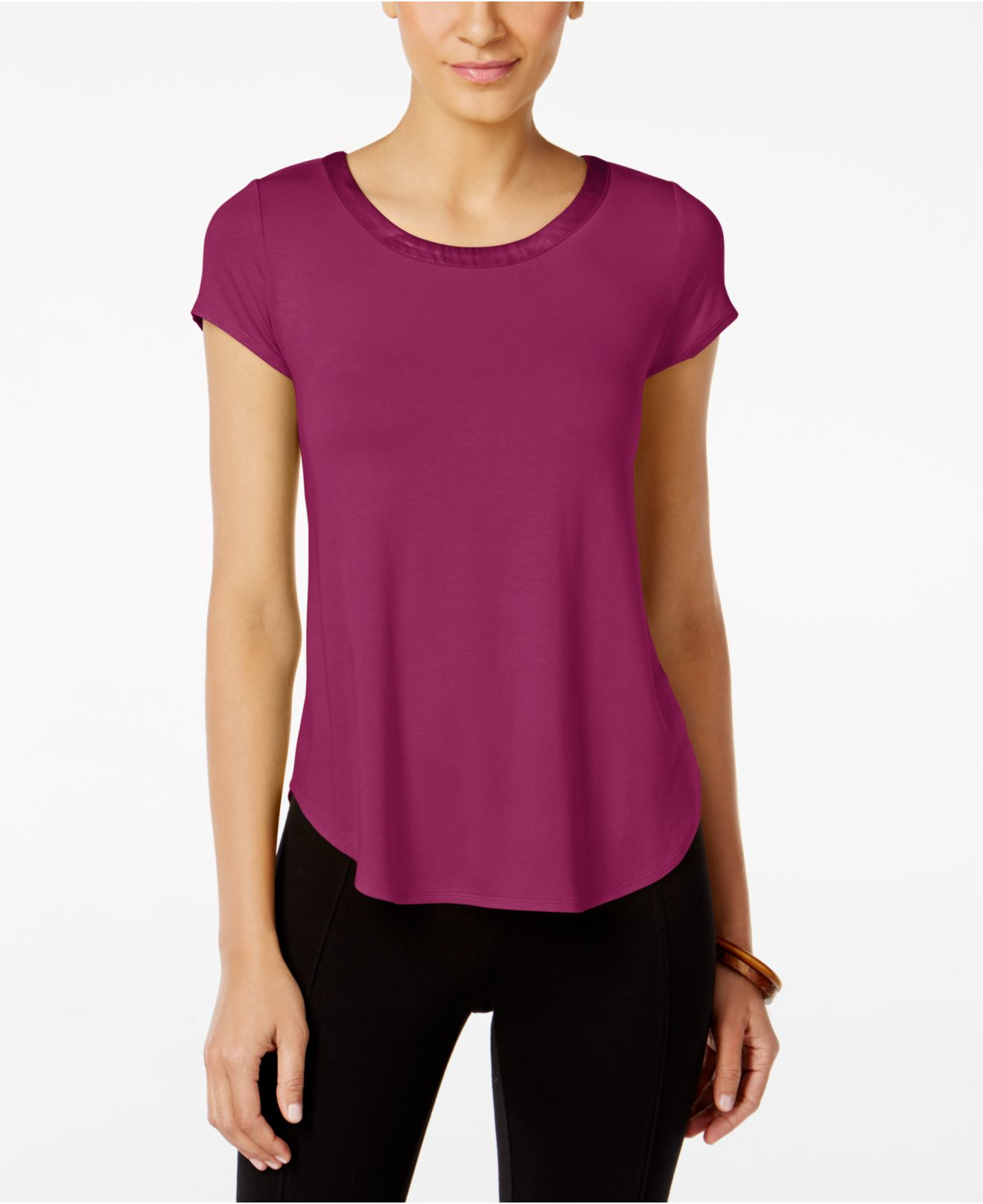 Lyst alfani top short sleeve high low tee in purple for 20 34 35 dress shirts