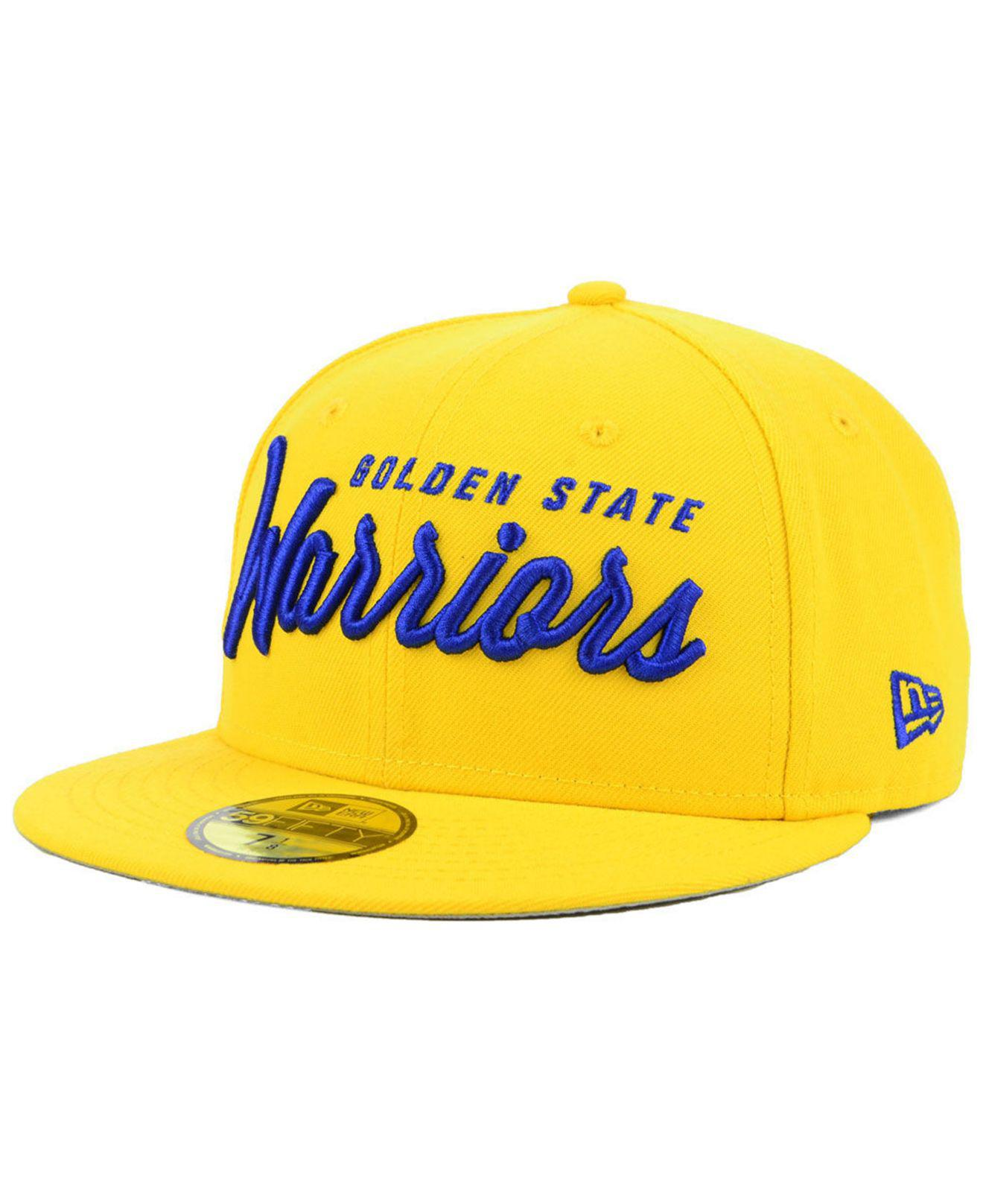 uk availability 7f2c2 3070d KTZ Golden State Warriors Classic Script 59fifty Fitted Cap in Blue ...