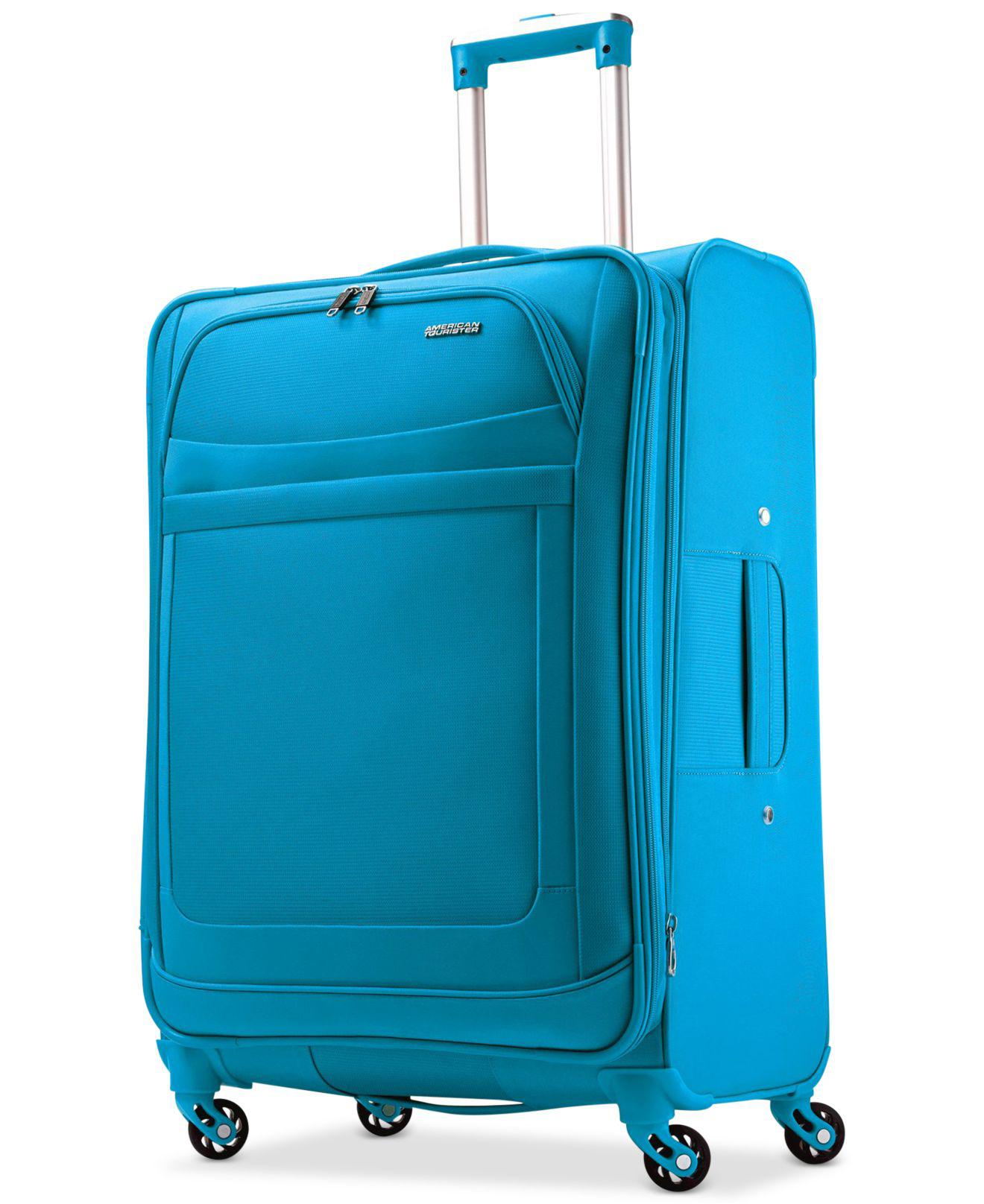 """American Tourister Synthetic Ilite Max 25"""" Expandable Spinner Suitcase in Blue - Lyst"""