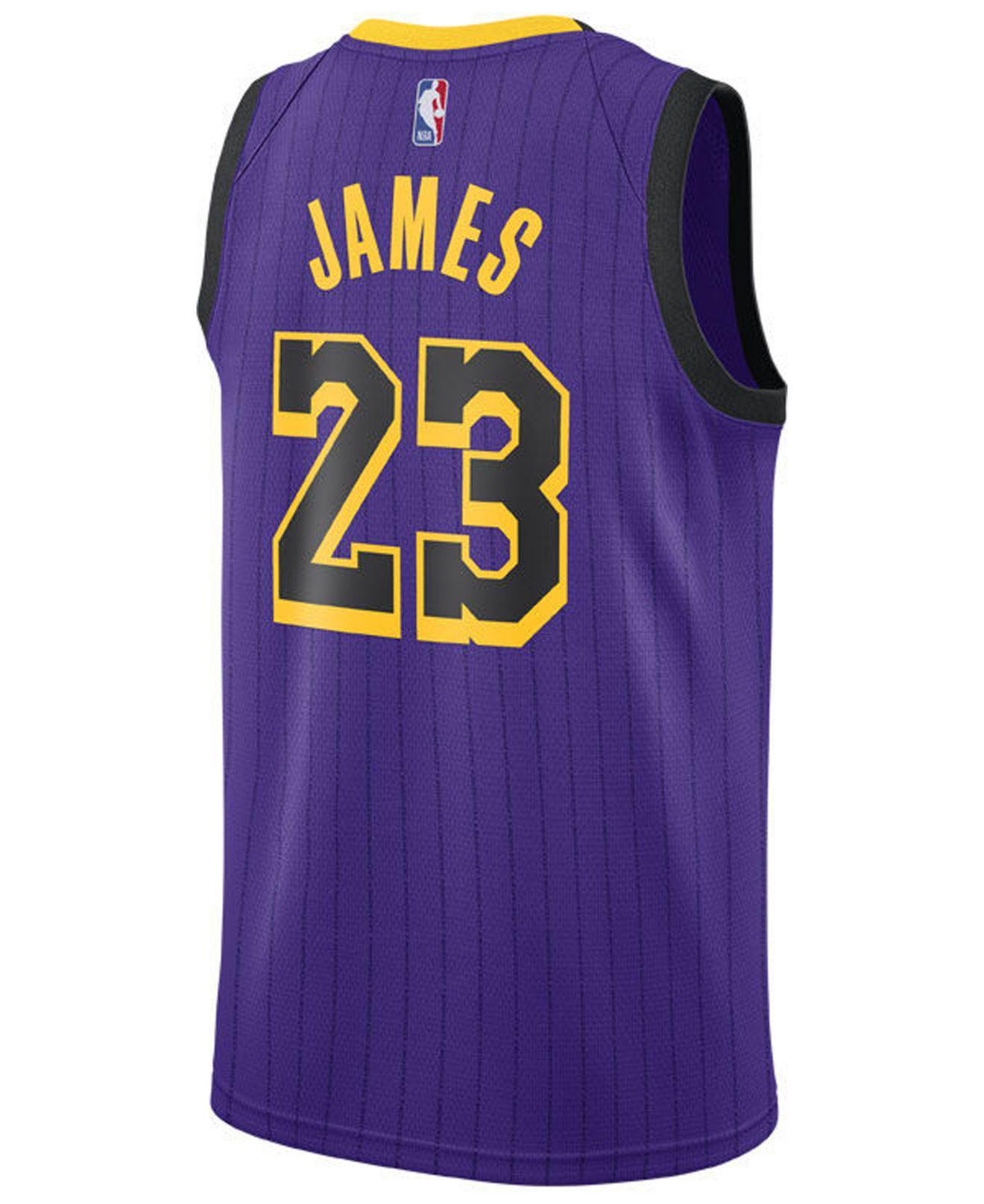 quality design b6b4e 12793 Men's Purple Lebron James Los Angeles Lakers City Swingman Jersey 2018