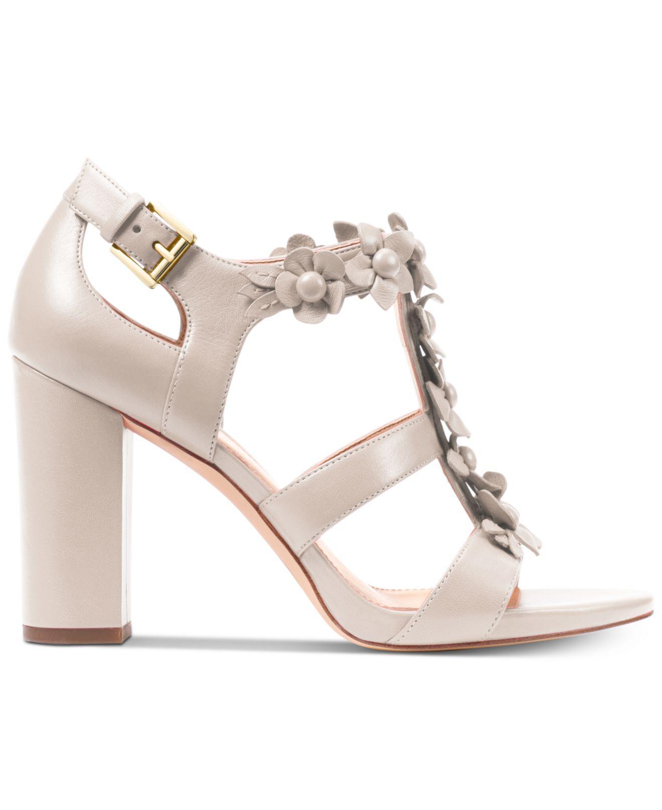 4aa7a057daa Michael Kors Tricia Block-heel T-strap Dress Sandals - Lyst