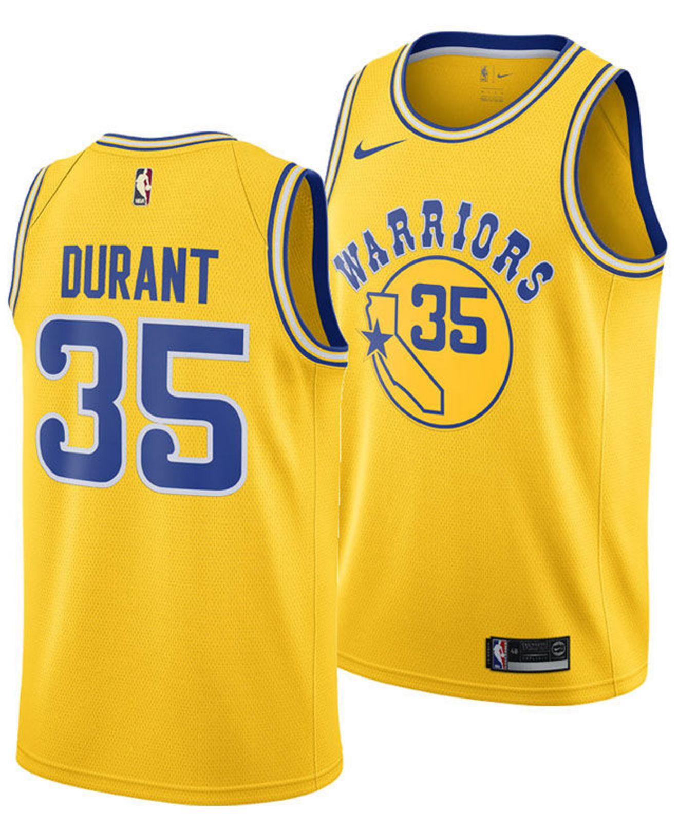 Nike. Men s Yellow Kevin Durant Golden State Warriors Hardwood Classic  Swingman Jersey f7cf3c1b6