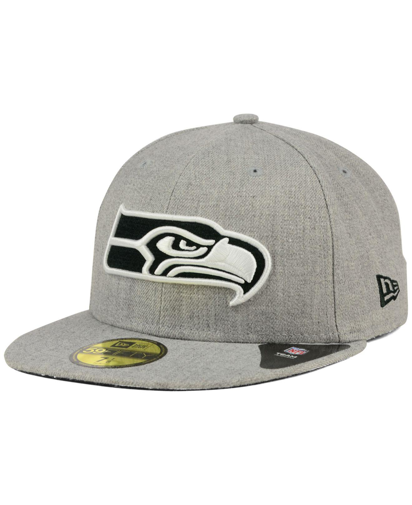 bcf6afef326a06 ... czech ktz gray seattle seahawks heather black white 59fifty cap for men  lyst. view fullscreen
