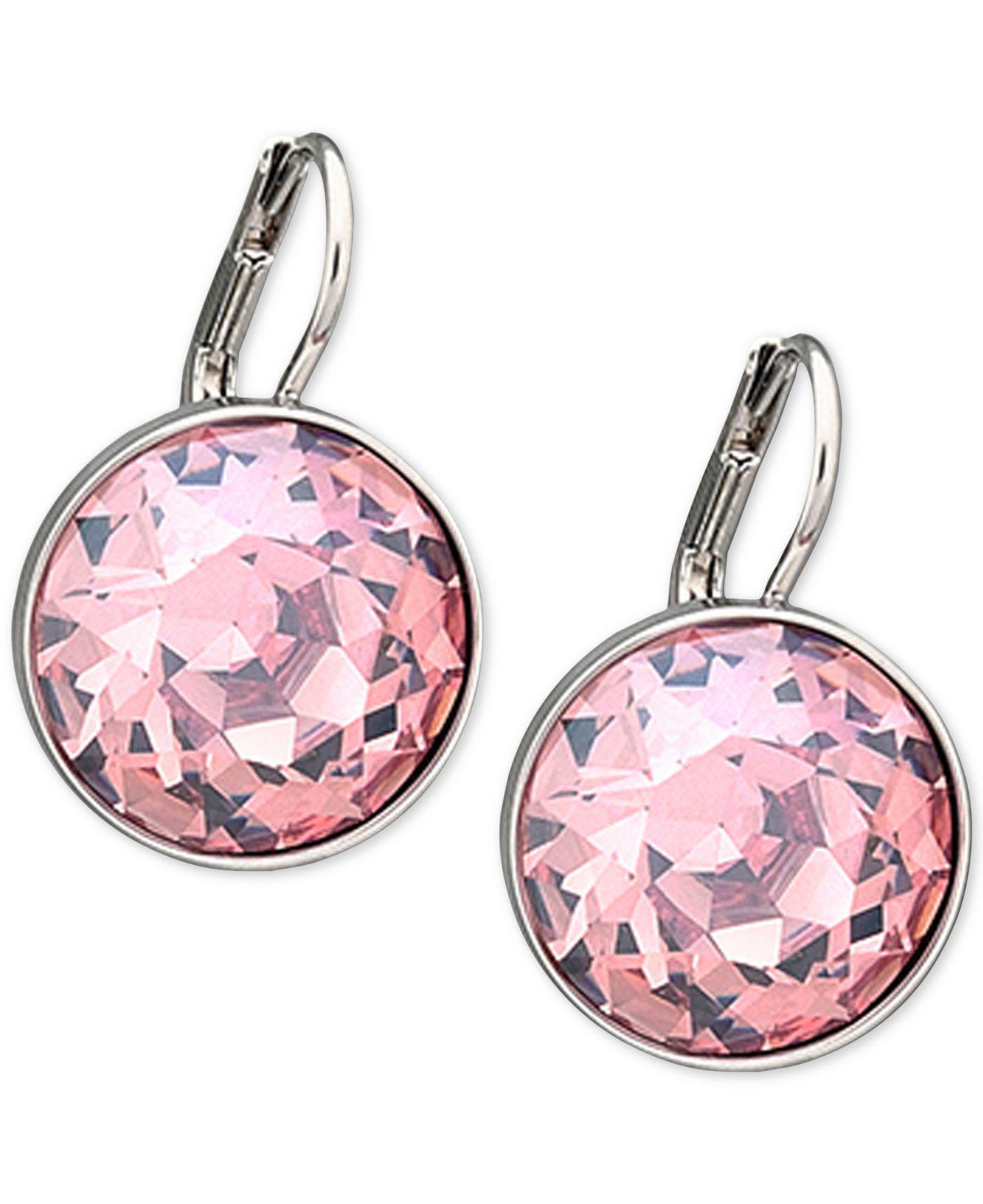 Swarovski Women S Silver Tone Pink Crystal Drop Earrings